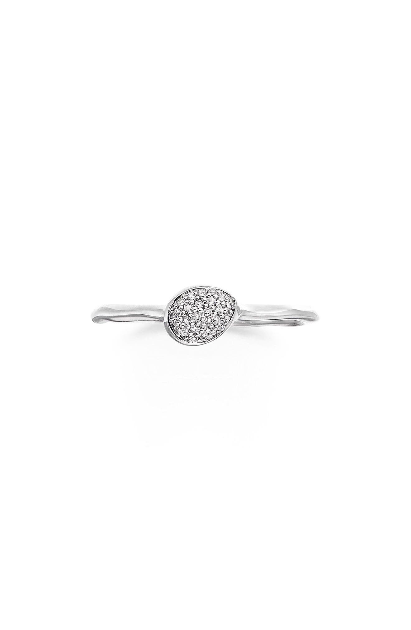 Siren Small Pavé Diamond Stacking Ring,                             Main thumbnail 1, color,                             SILVER/ DIAMOND