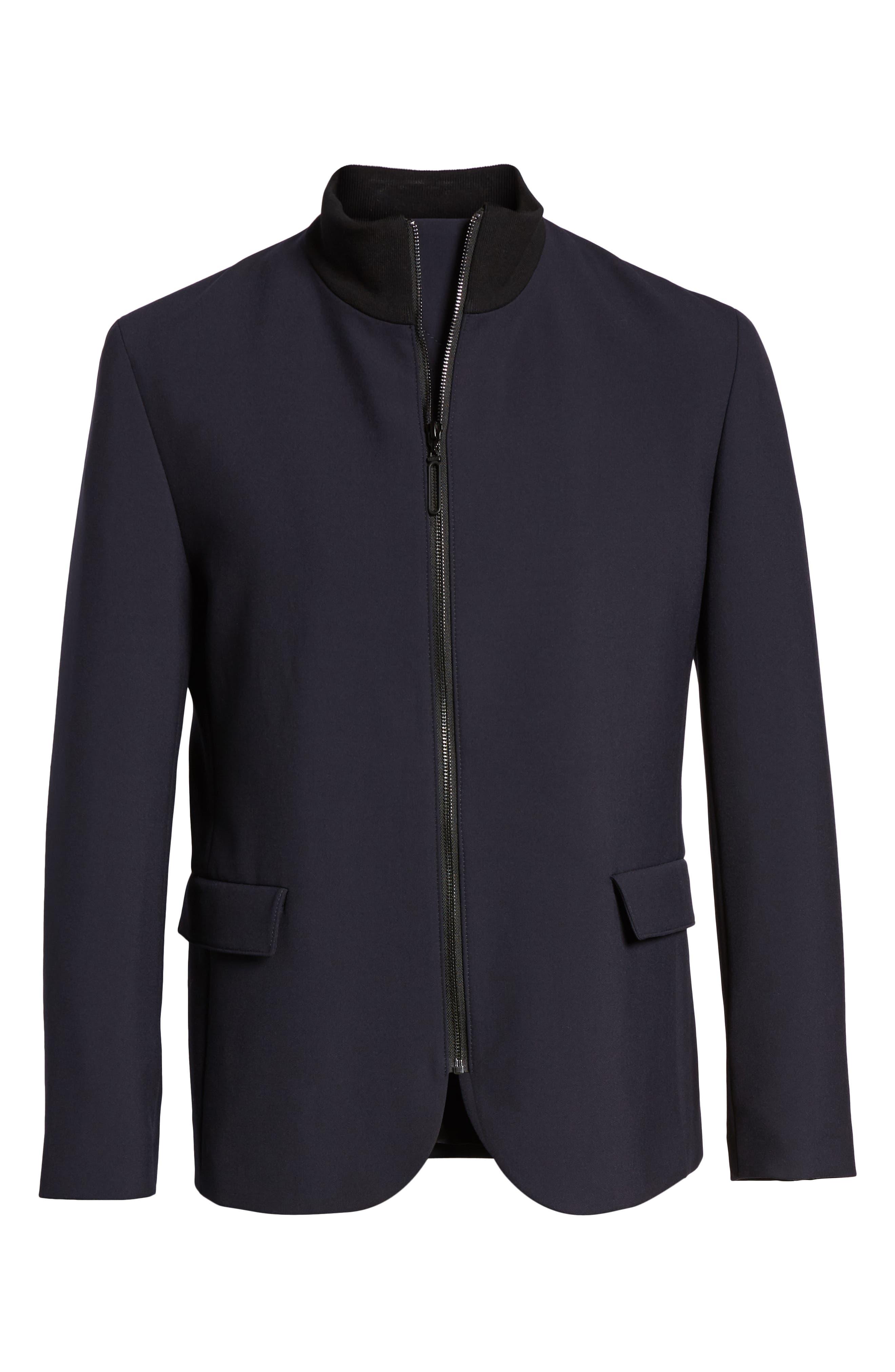 Janno Slim Zip Front Sport Coat,                             Alternate thumbnail 6, color,                             BLUE