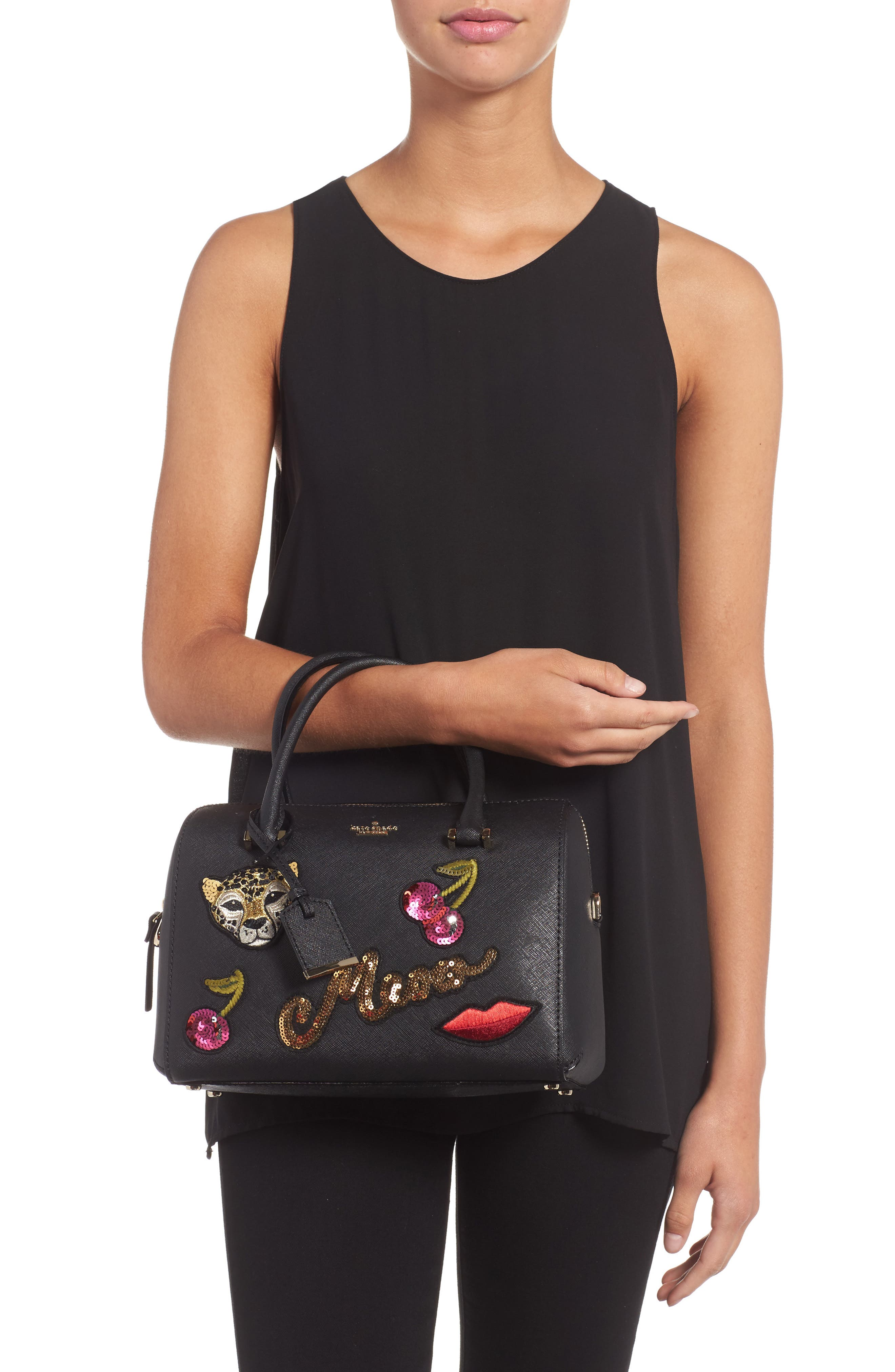 large lane - ma cherie leather satchel,                             Alternate thumbnail 2, color,                             001