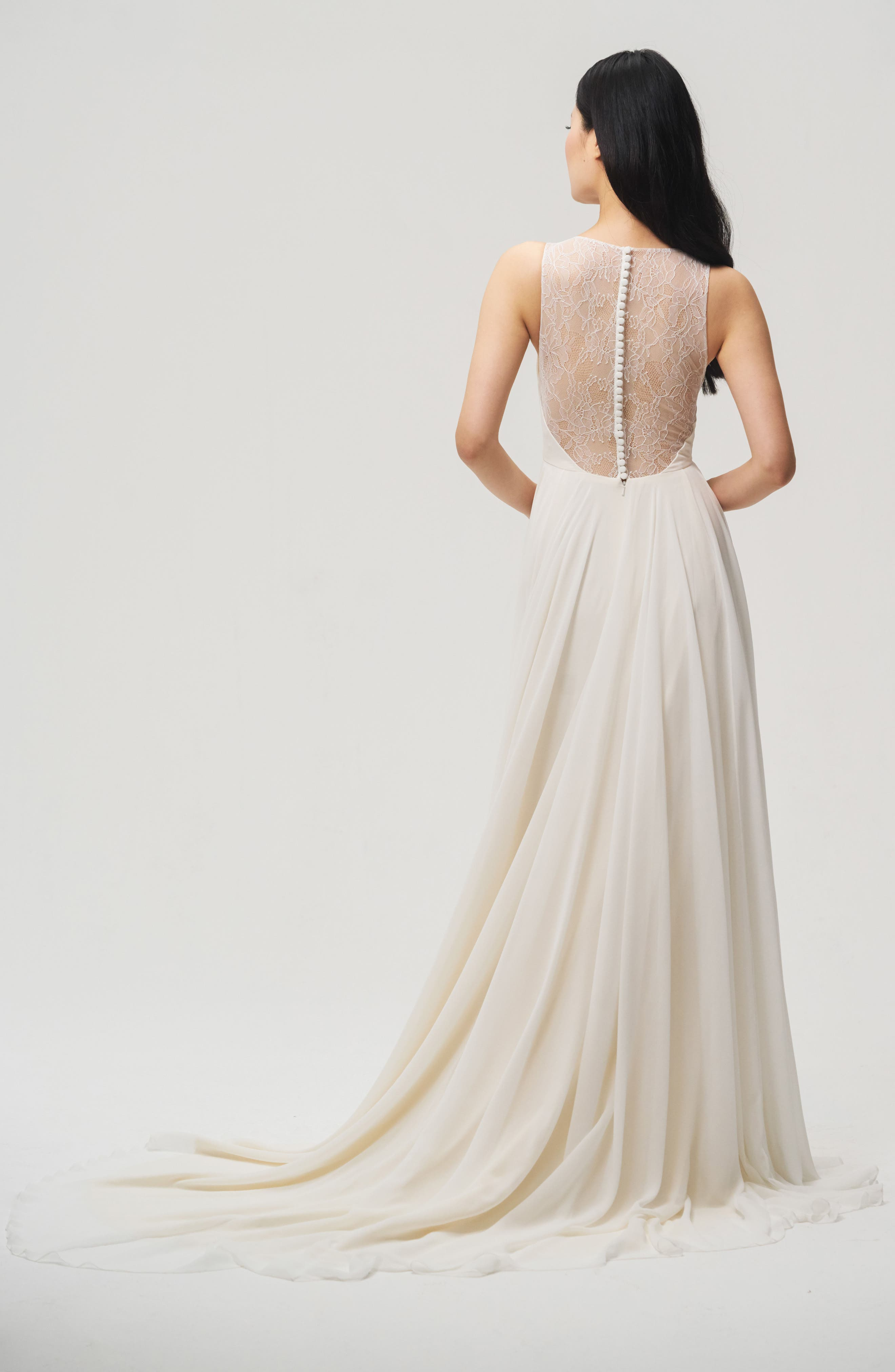 Fallon Lace & Chiffon A-Line Gown,                             Alternate thumbnail 2, color,                             IVORY