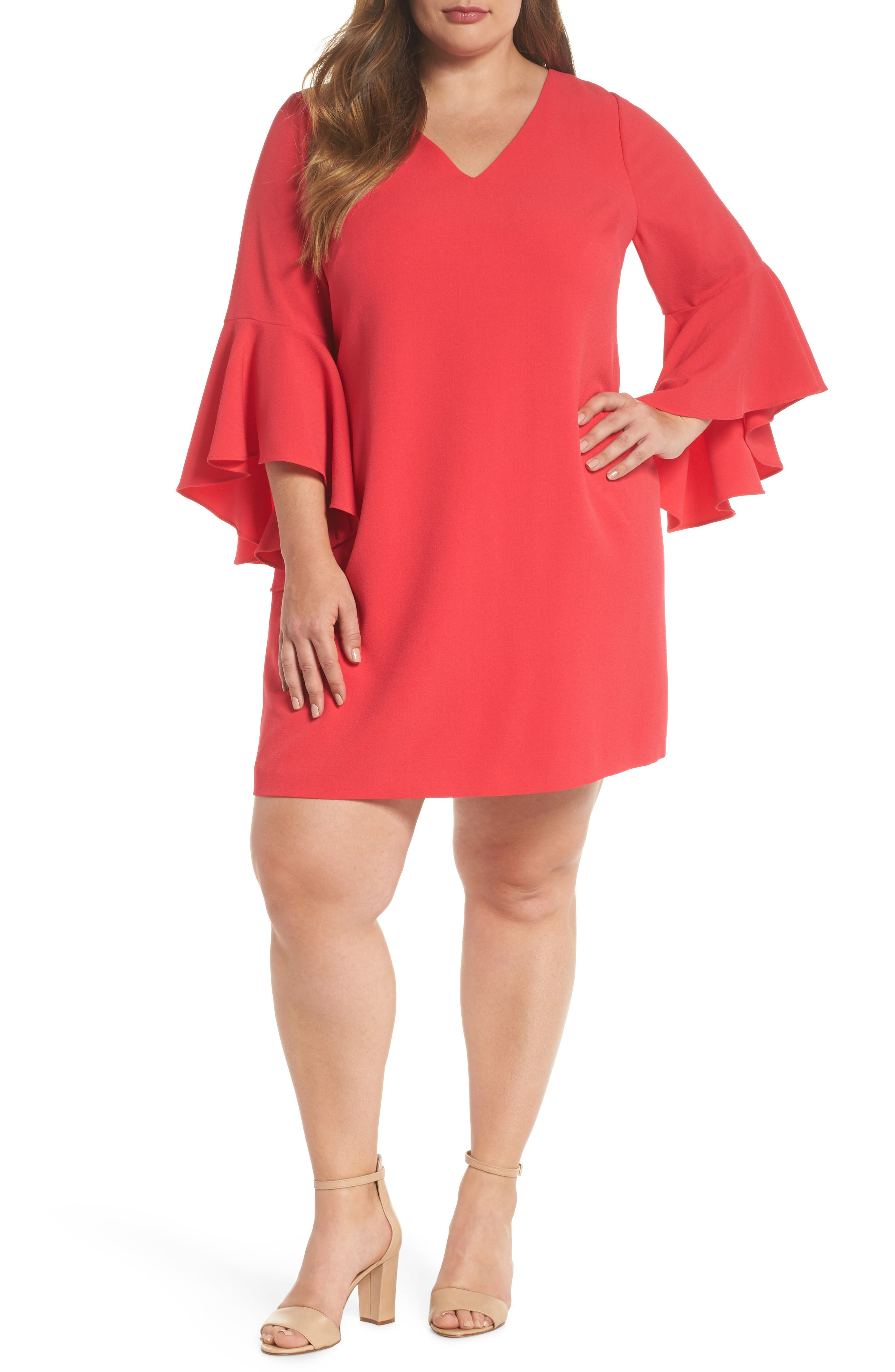 Bell Sleeve Crepe Shift Dress,                         Main,                         color,