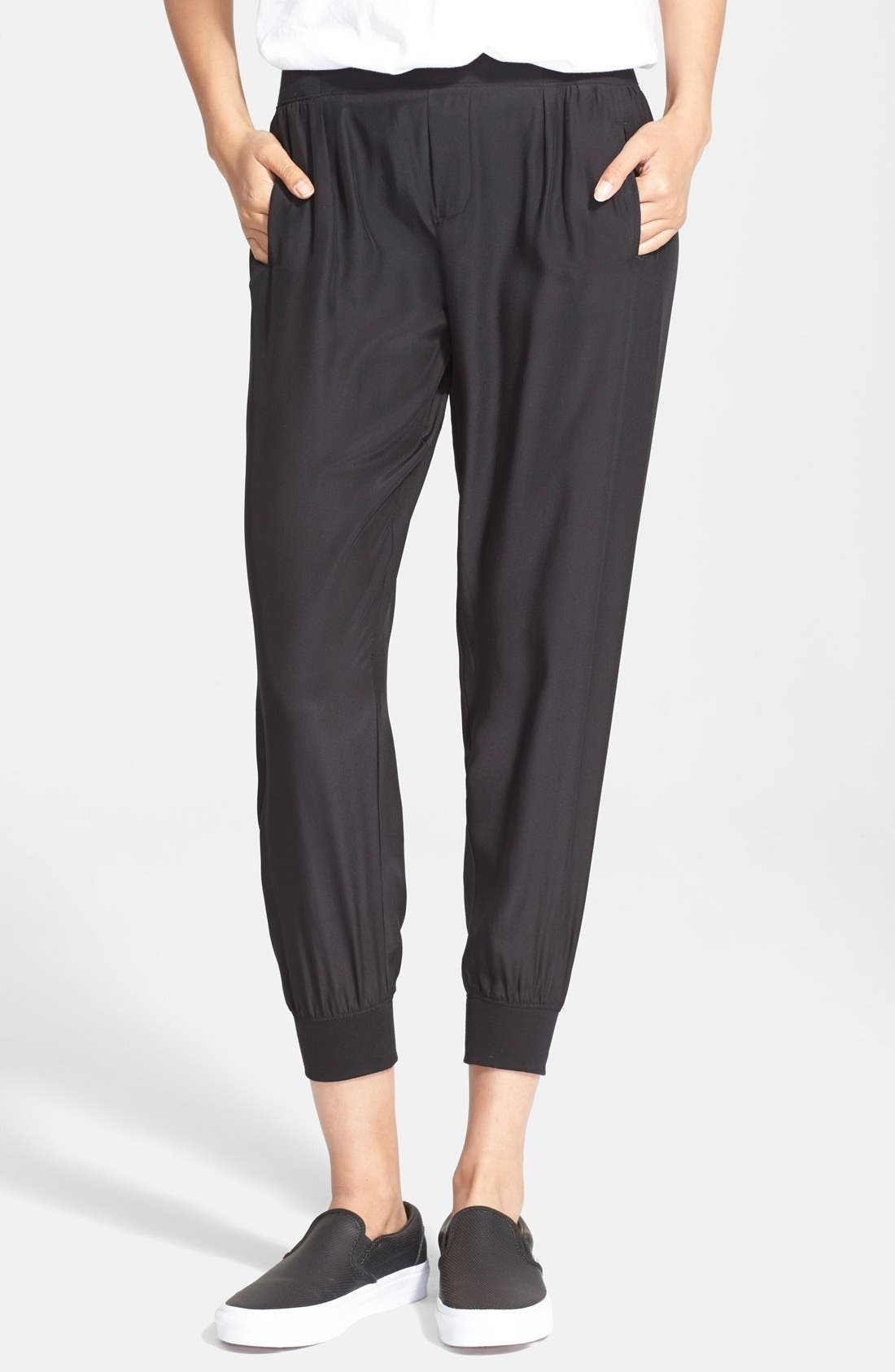 Silk Jogger Pants,                             Main thumbnail 1, color,                             BLACK