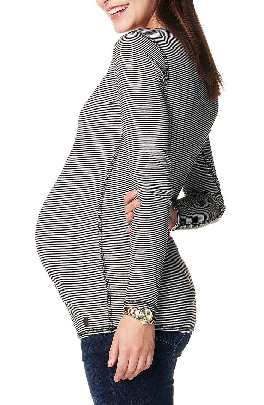 'Marit' Reversible Stripe Maternity Tee,                             Alternate thumbnail 6, color,                             DARK SHADOW