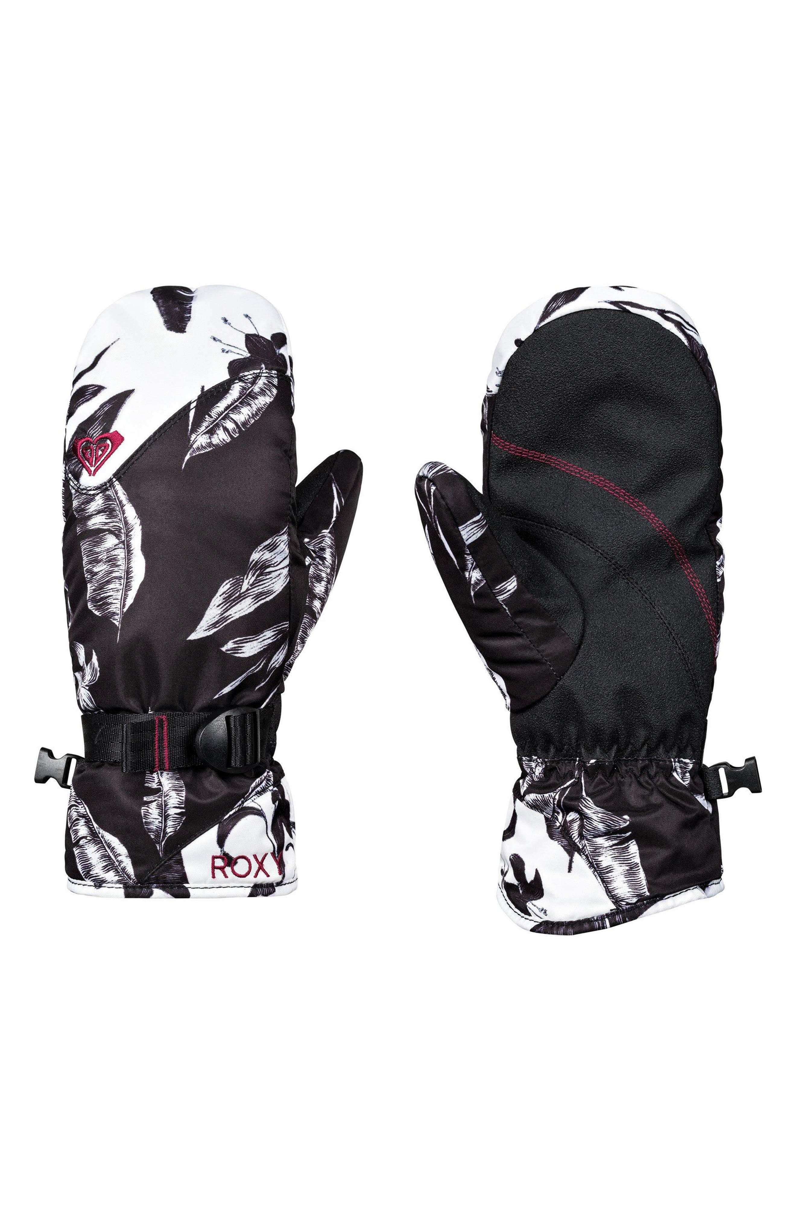 Jetty Print Snow Sport Mitts,                         Main,                         color, TRUE BLACK/ LOVE LETTER