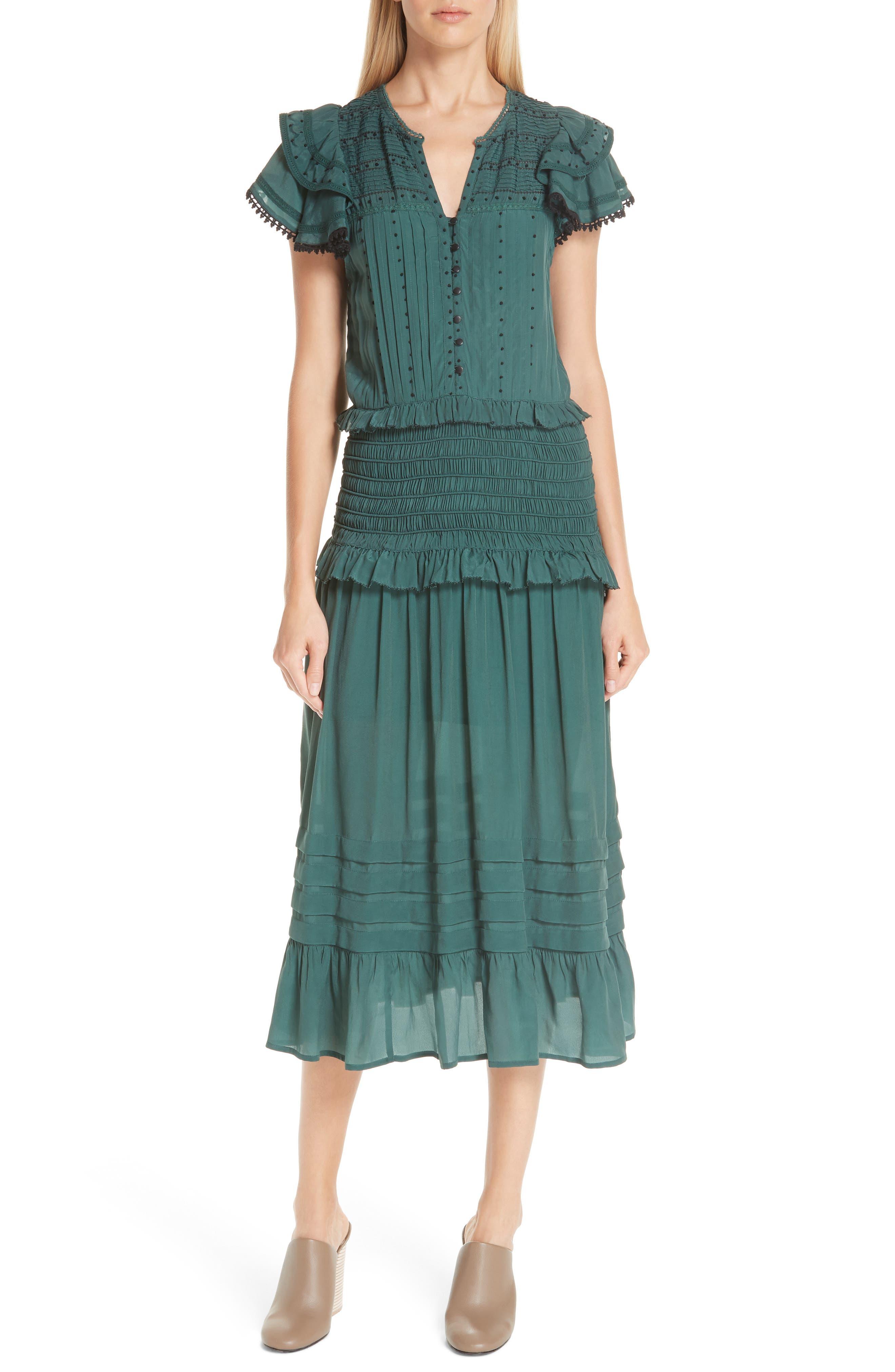 Azzedine Flutter Sleeve Smocked Midi Dress,                         Main,                         color, FOREST