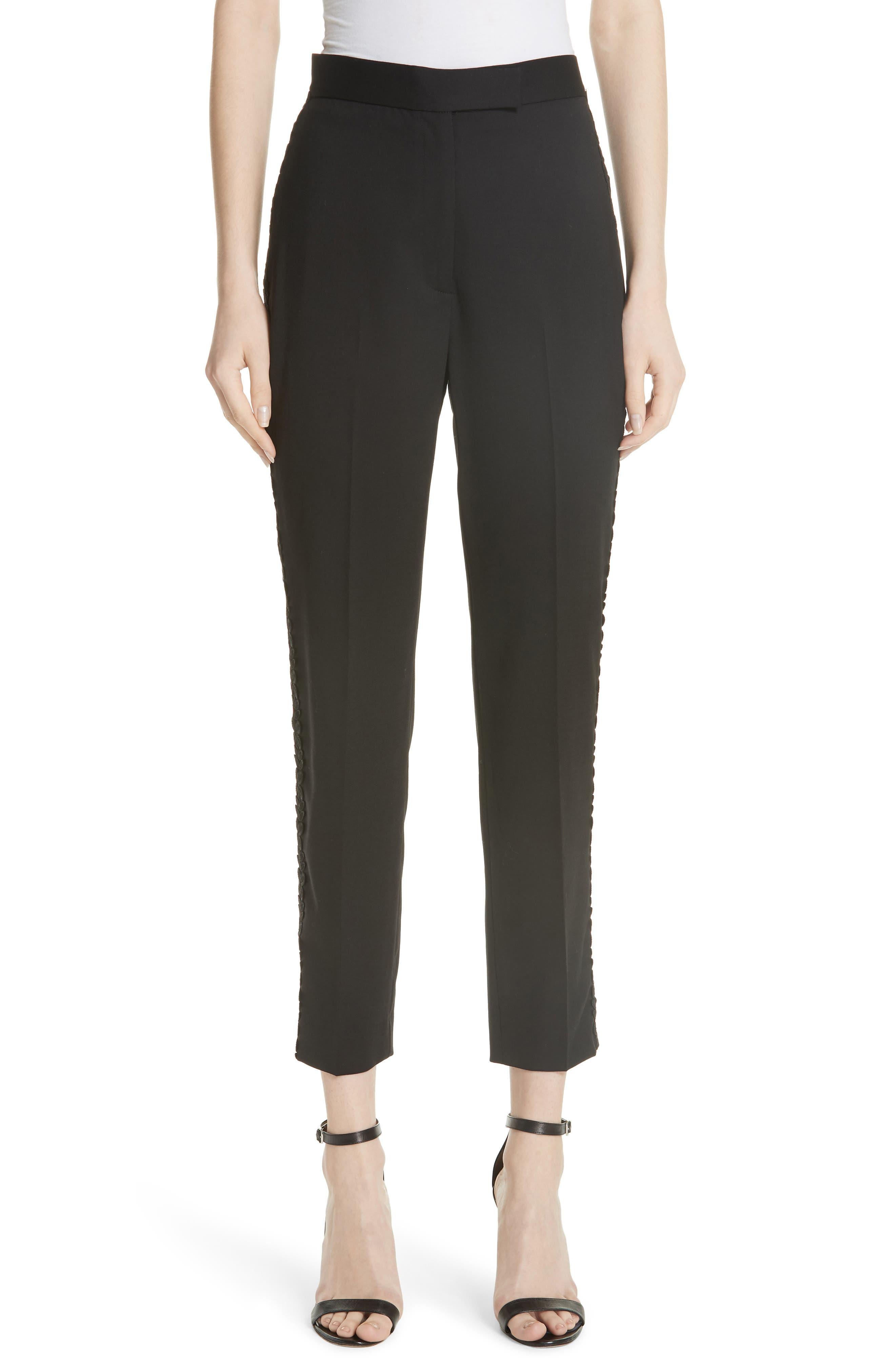 Flower Trim Italian Stretch Wool Pants,                             Main thumbnail 1, color,                             BLACK