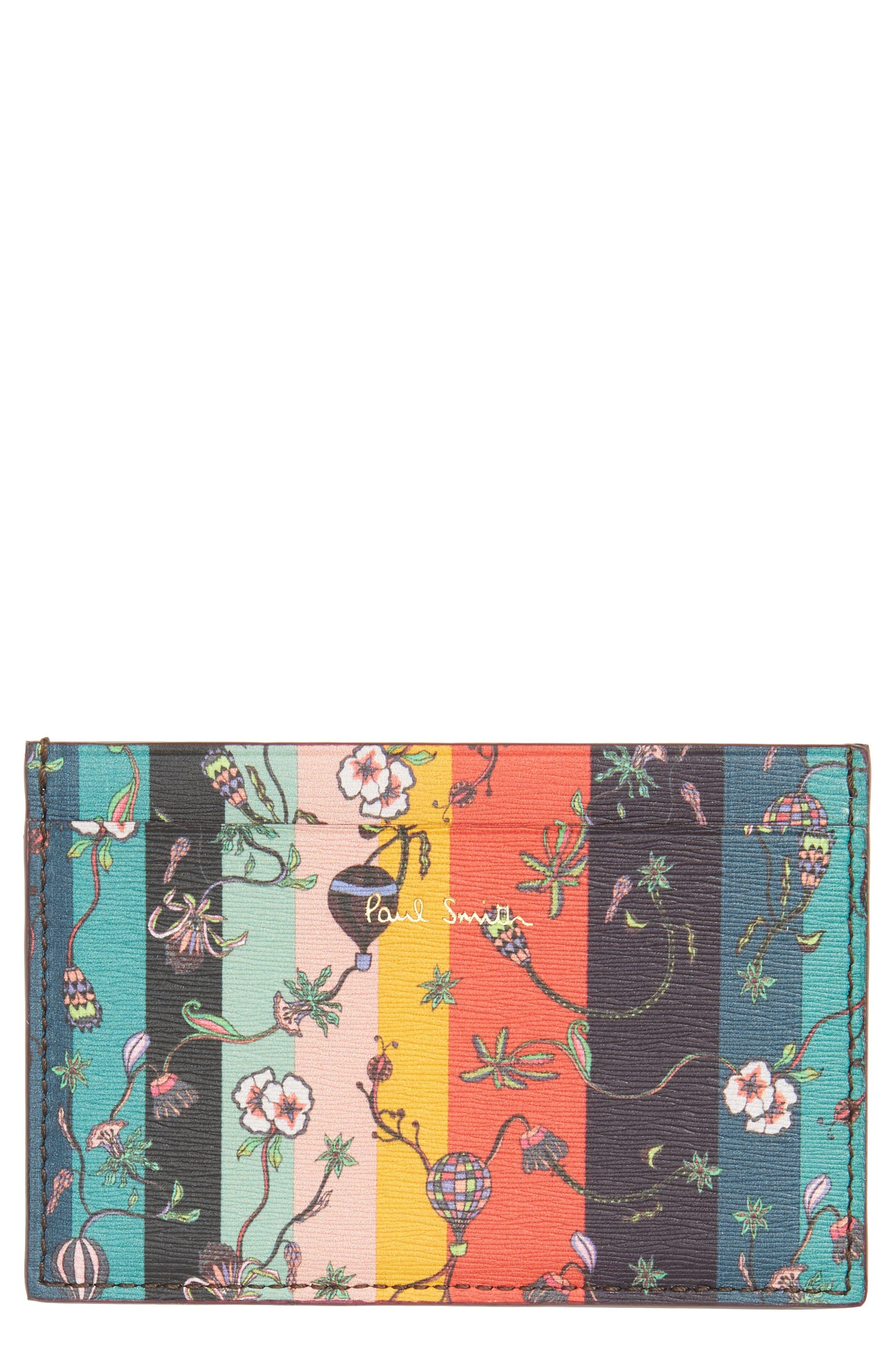 Balloon Stripe Leather Card Case,                             Main thumbnail 1, color,                             001