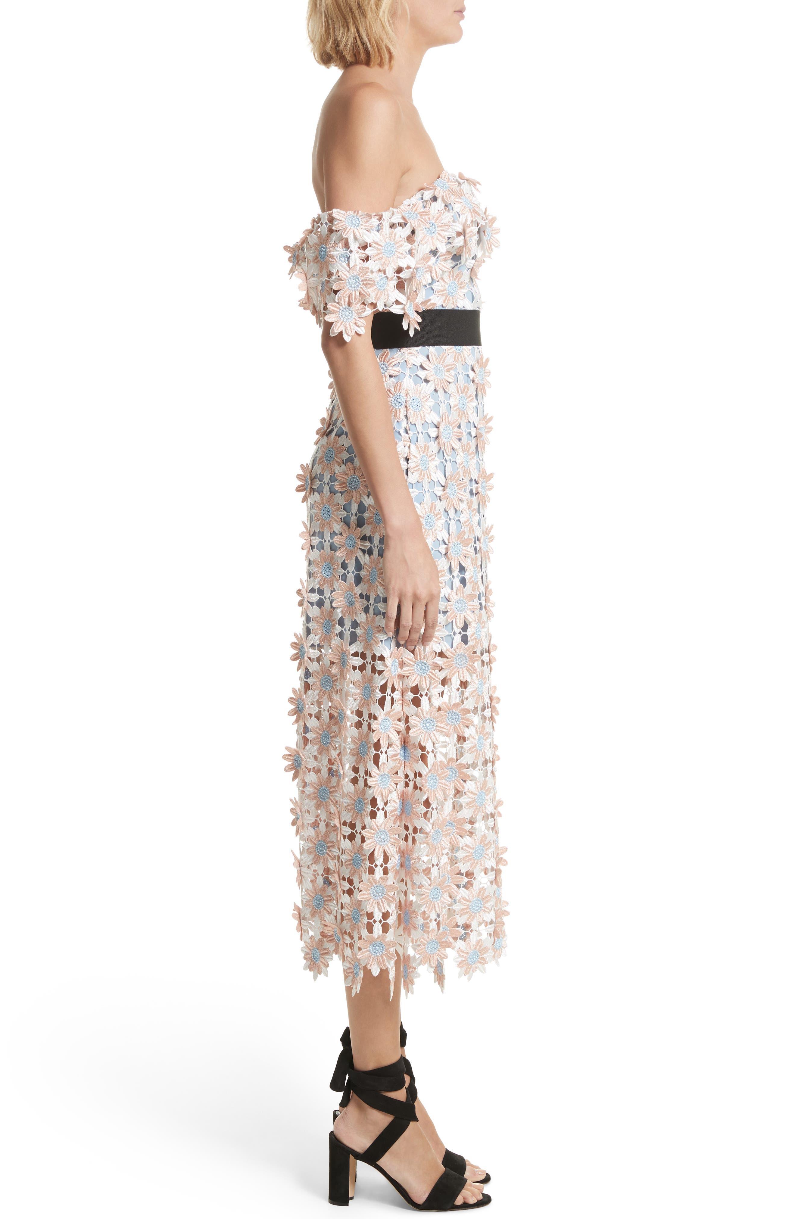 3D Floral Lace Off the Shoulder Midi Dress,                             Alternate thumbnail 3, color,                             650