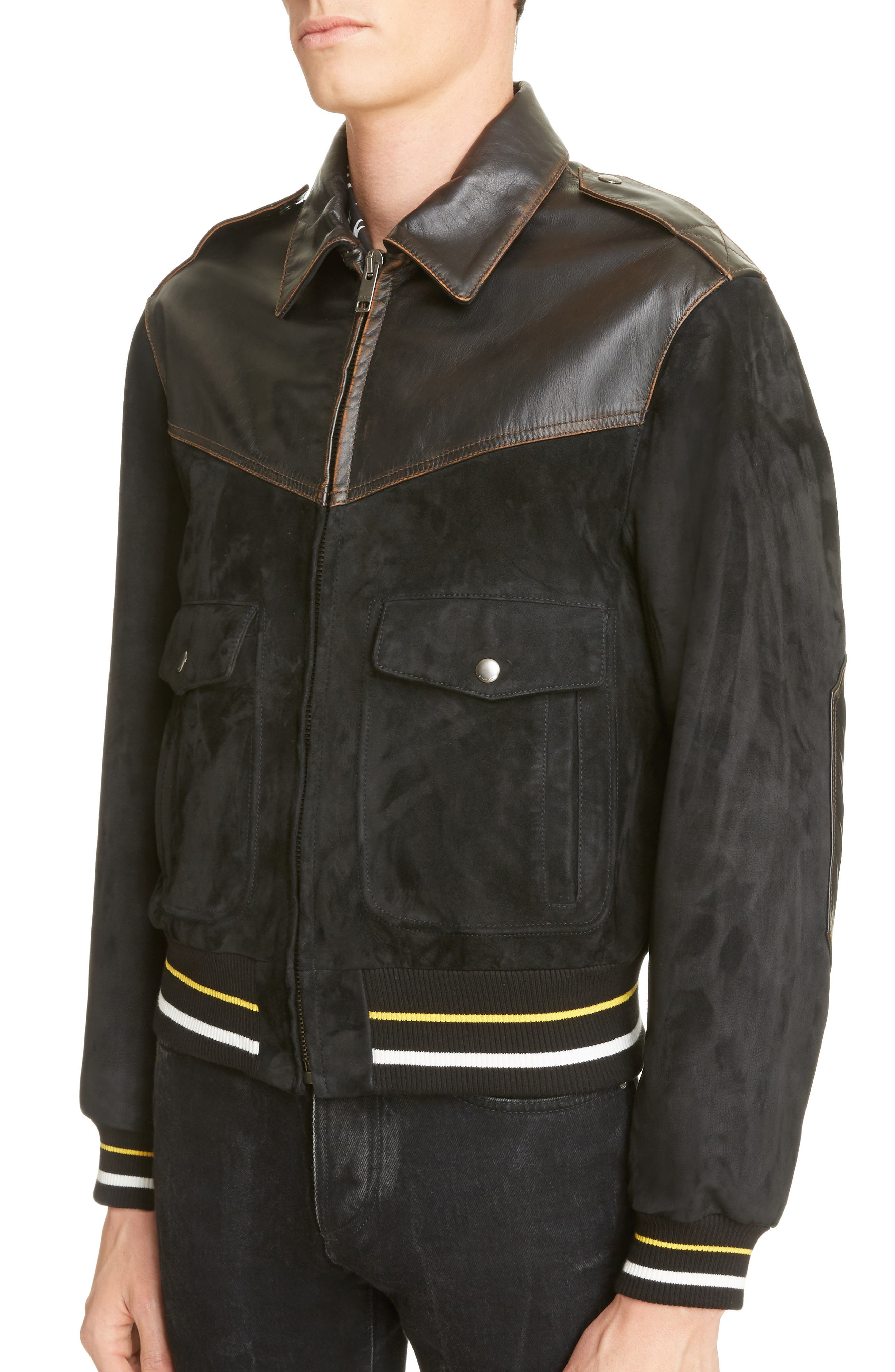 Suede & Leather Bomber Jacket,                             Alternate thumbnail 4, color,                             BLACK