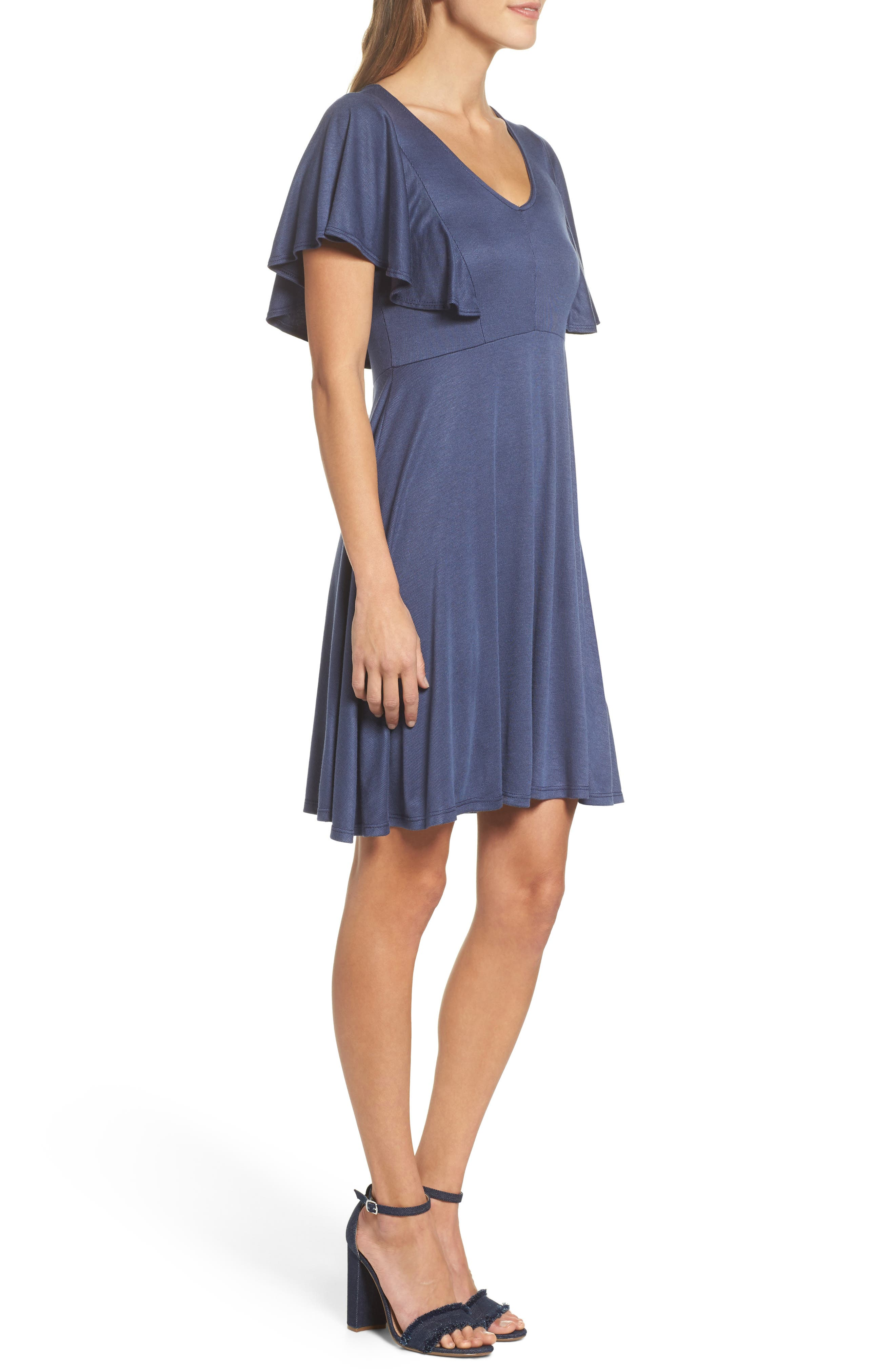 Flutter Sleeve Knit Dress,                             Alternate thumbnail 3, color,                             420