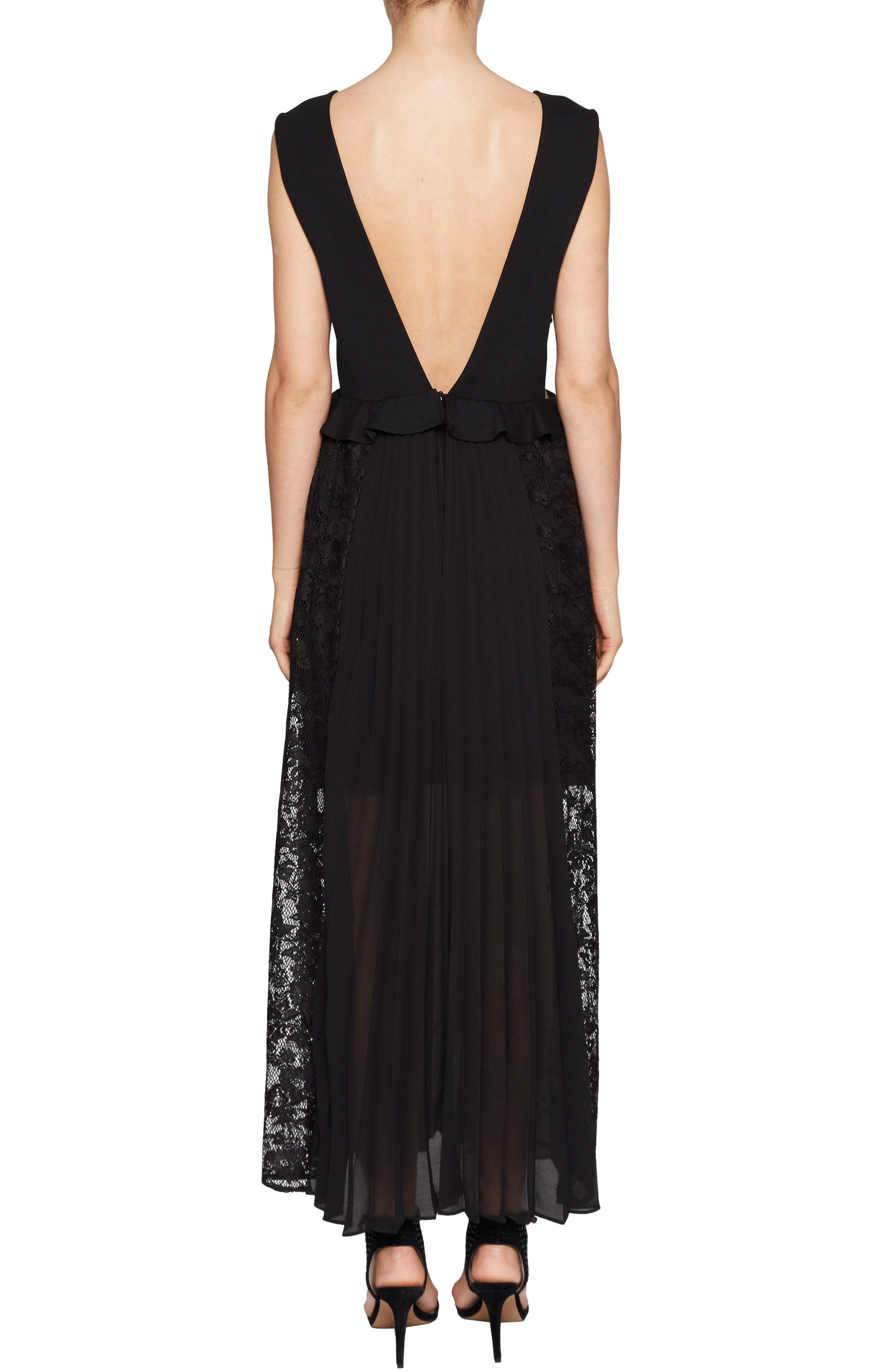 Angelina Pleated Lace Maxi Dress,                             Alternate thumbnail 2, color,                             001