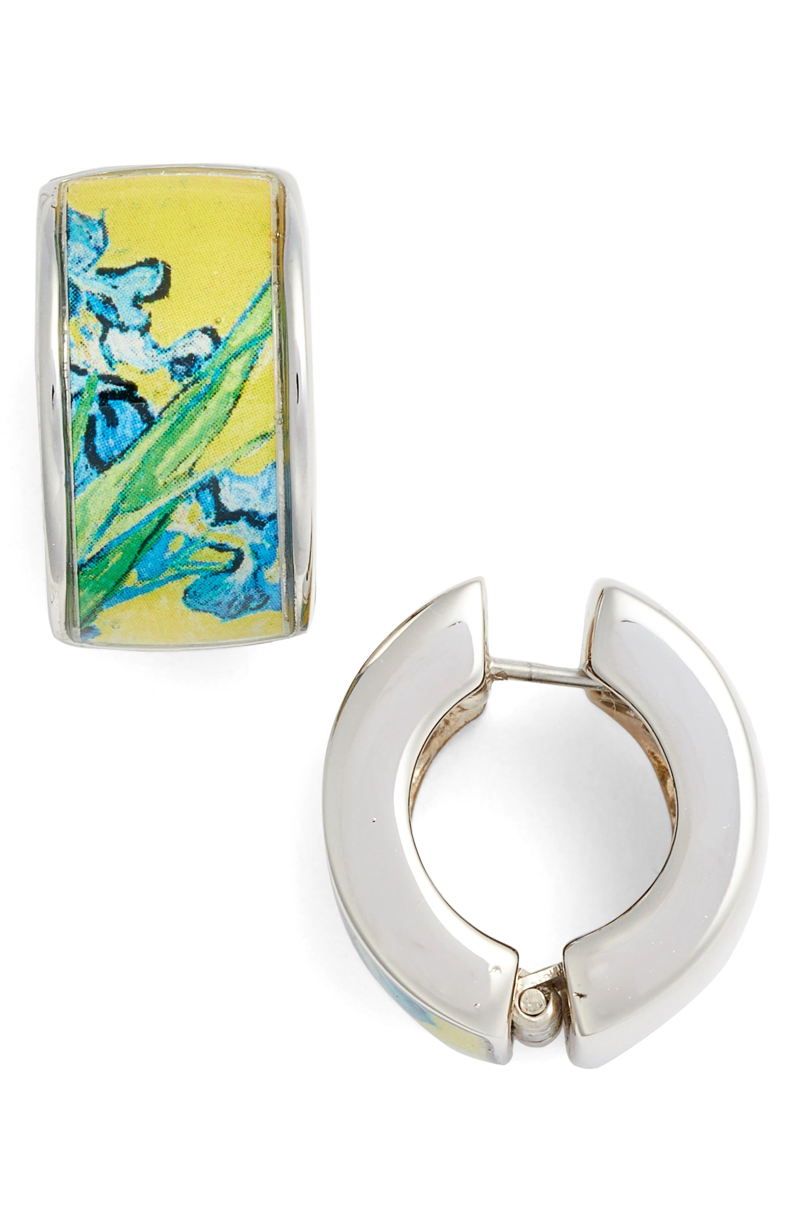 Silvertone Irises Earrings,                         Main,                         color, BLUE/ SILVER