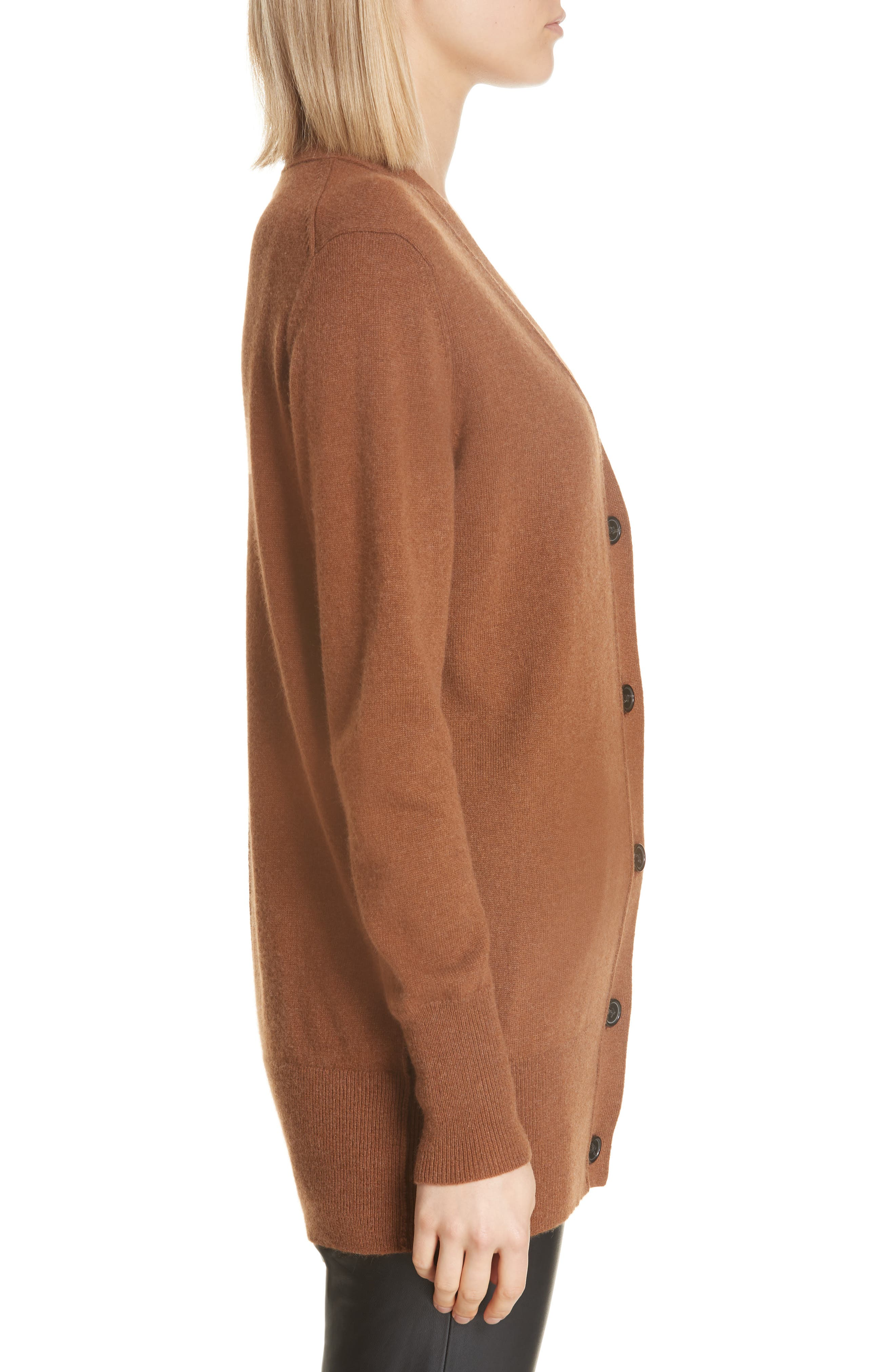 NILI LOTAN,                             Lane Cashmere Cardigan,                             Alternate thumbnail 3, color,                             COGNAC