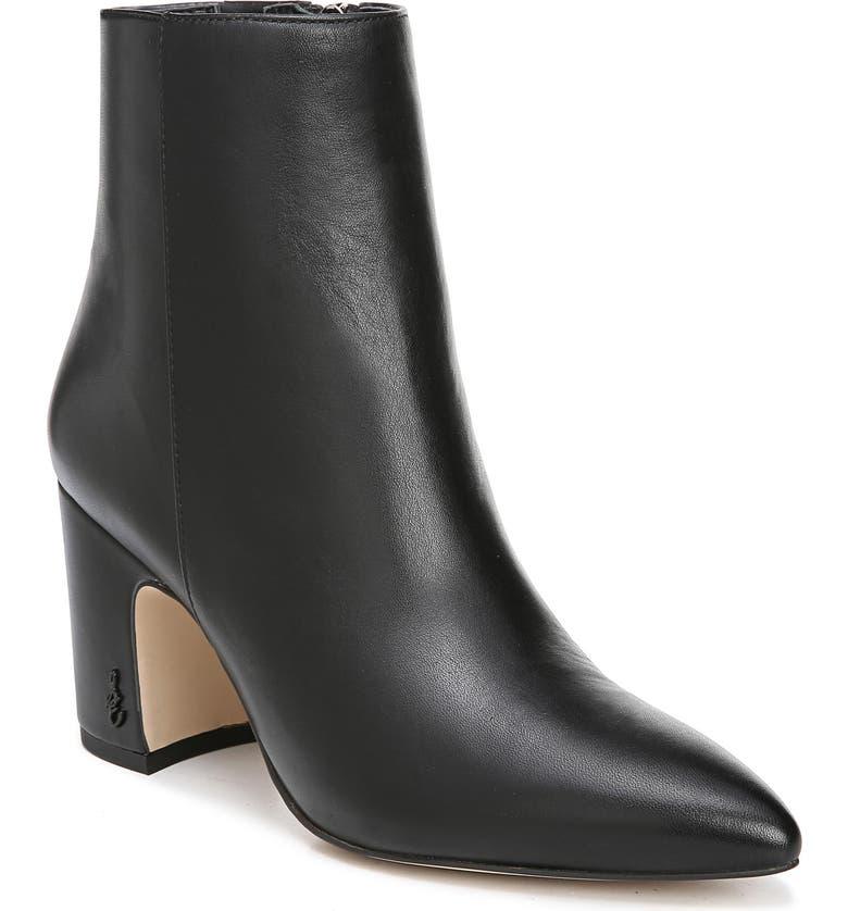 23bcff78de2 Women'S Hilty Pointed Toe Block High-Heel Ankle Booties in Black Leather