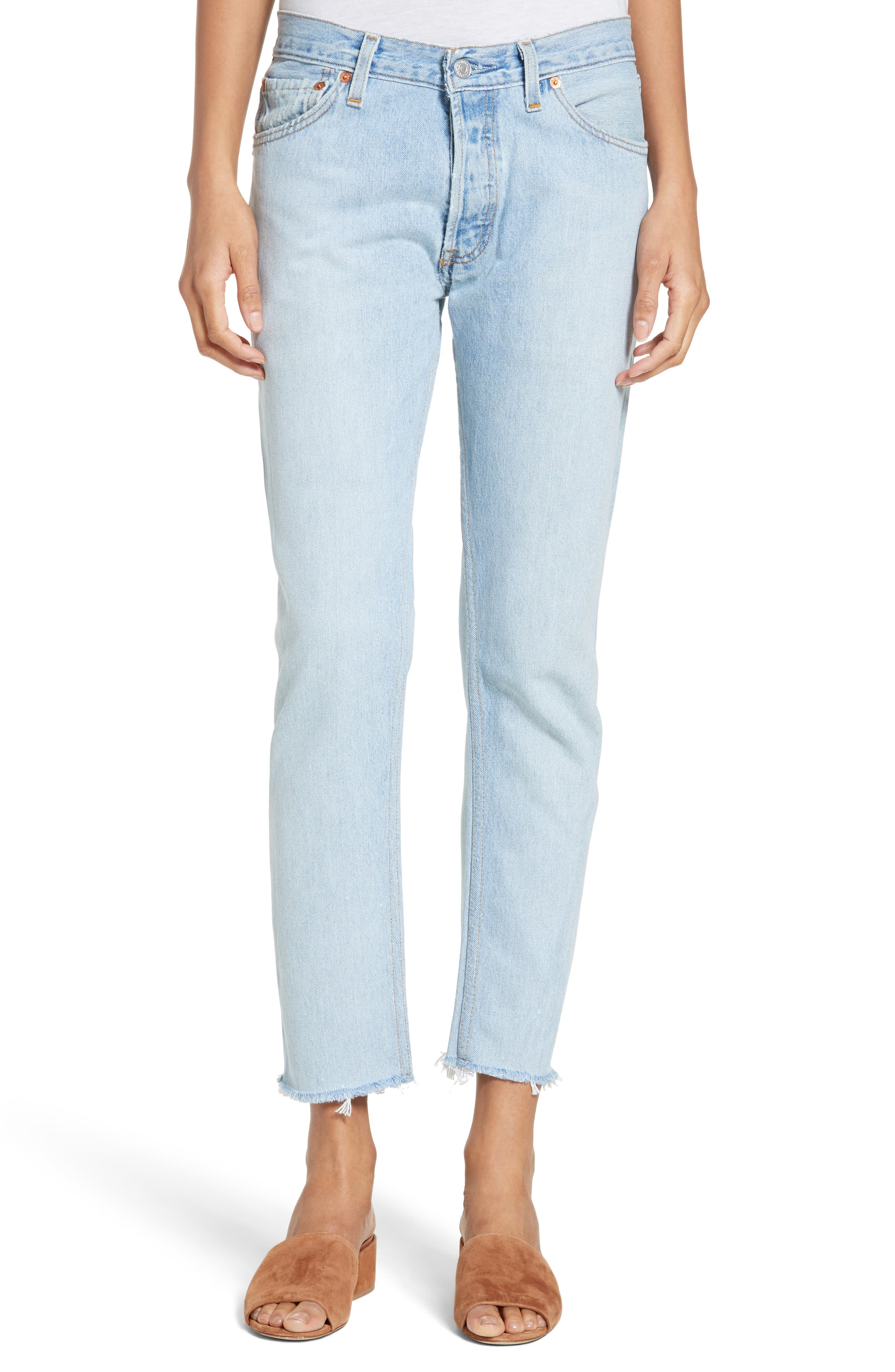 Reconstructed Crop Jeans,                             Main thumbnail 1, color,                             400