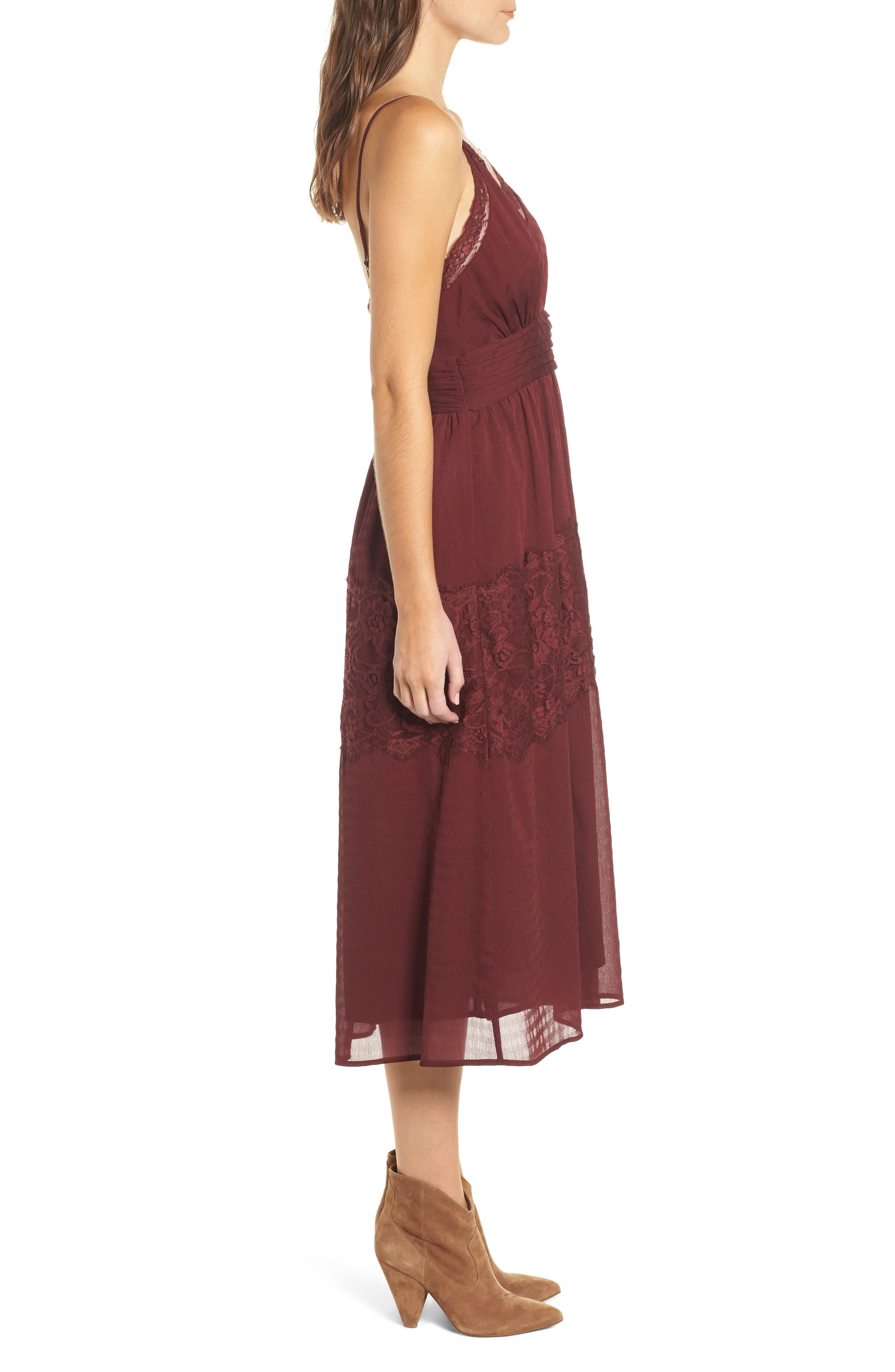 Lace Trim Midi Dress,                             Alternate thumbnail 3, color,                             930