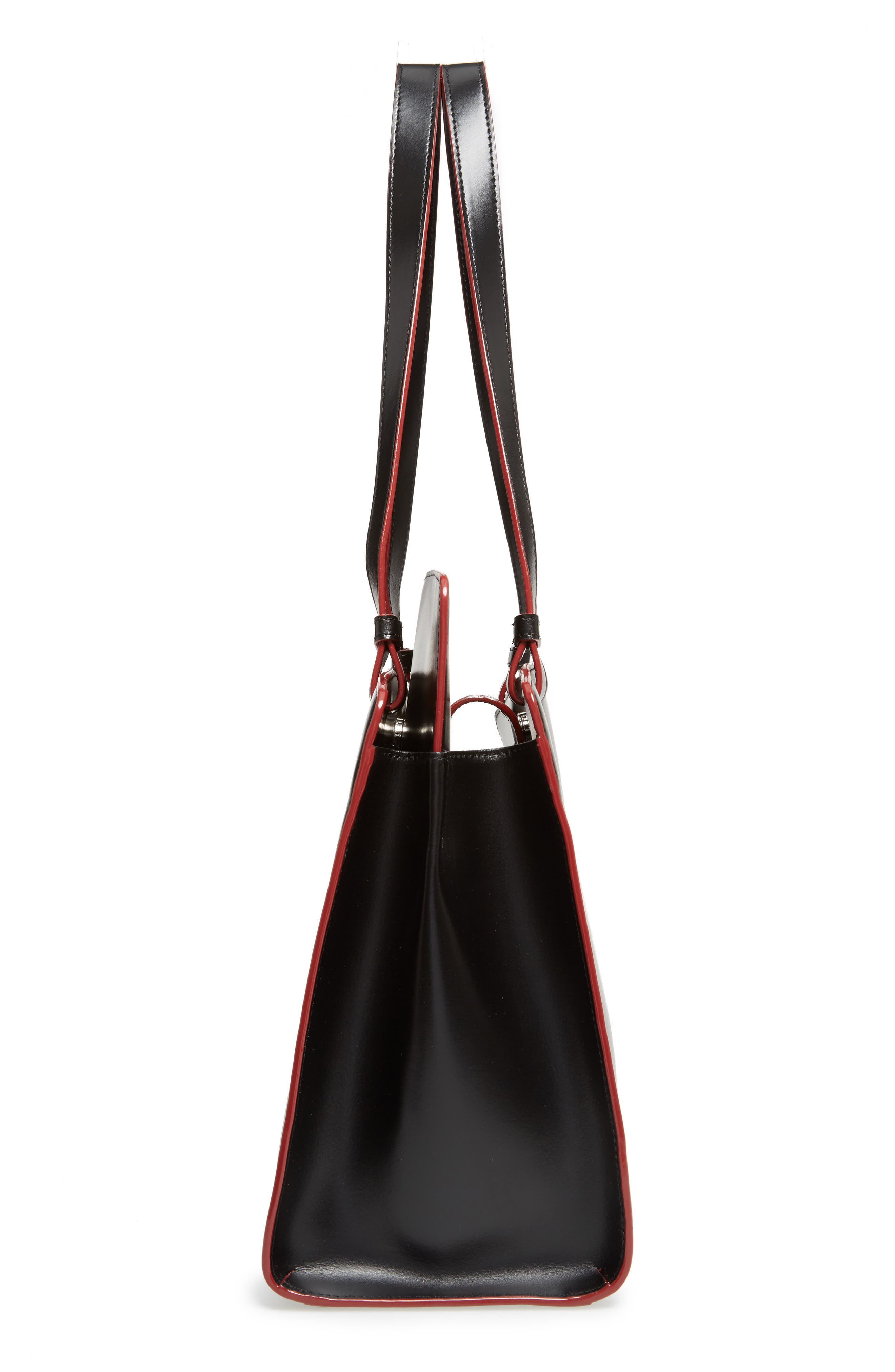 Audrey Under Lock & Key - Jana RFID Leather Tote,                             Alternate thumbnail 5, color,                             BLACK