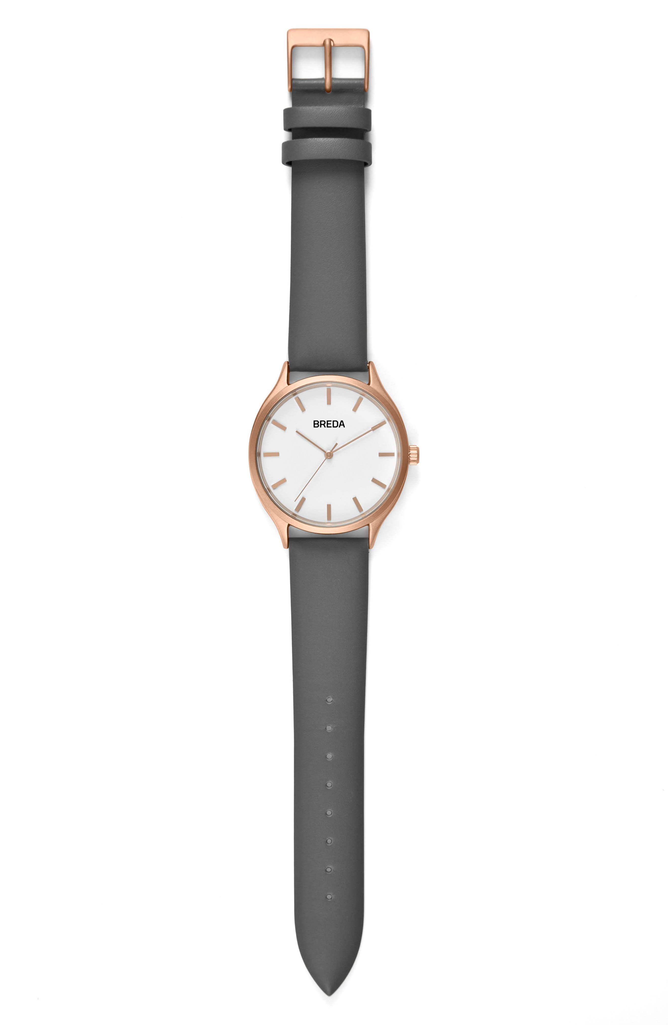 Asper Round Leather Strap Watch, 40mm,                         Main,                         color,