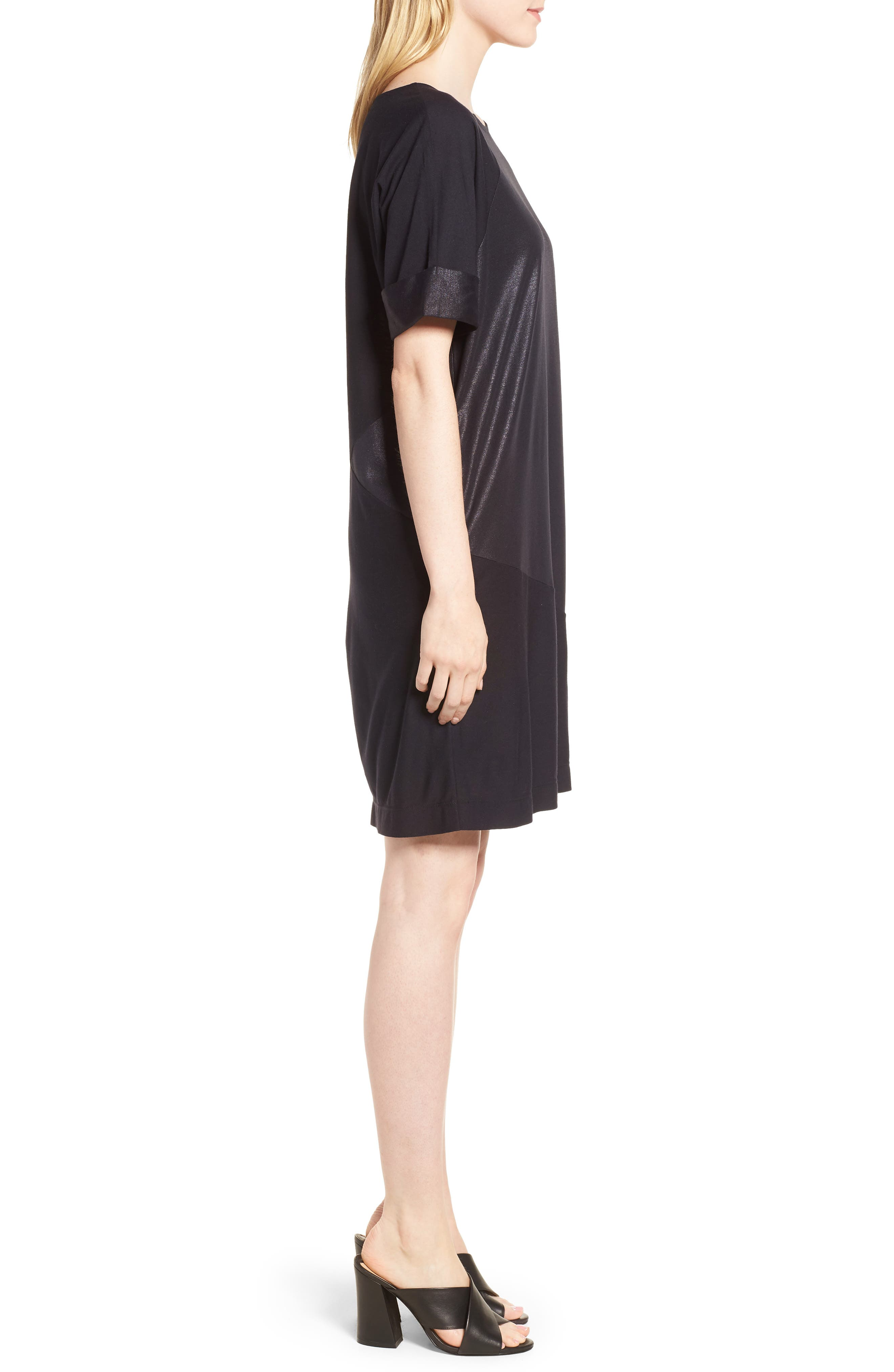 Glitter Block T-Shirt Dress,                             Alternate thumbnail 3, color,                             BLACK