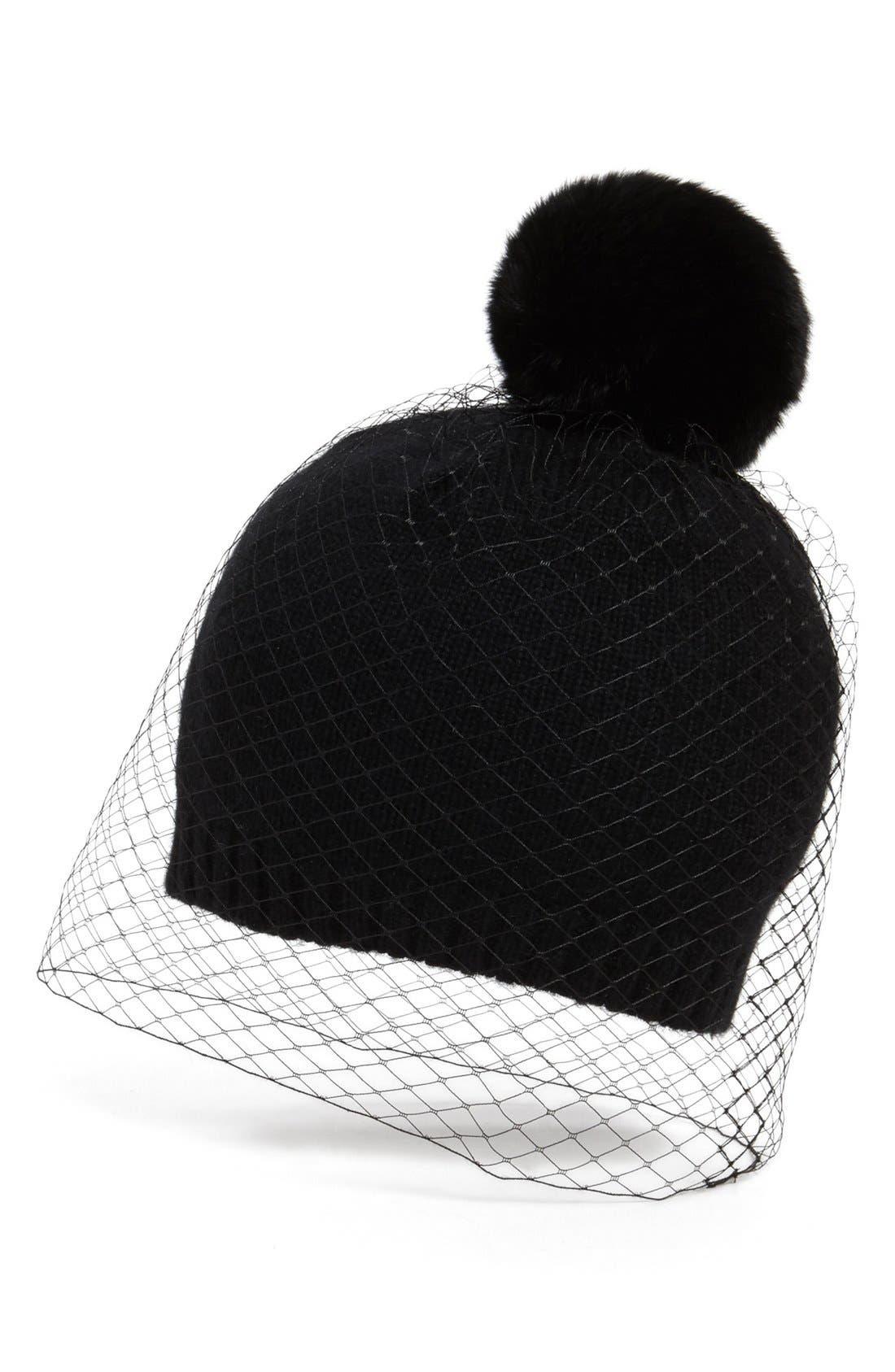 BCBG,                             AXAZRIA 'Winter Veil' Beanie with Genuine Fur Pompom,                             Main thumbnail 1, color,                             001