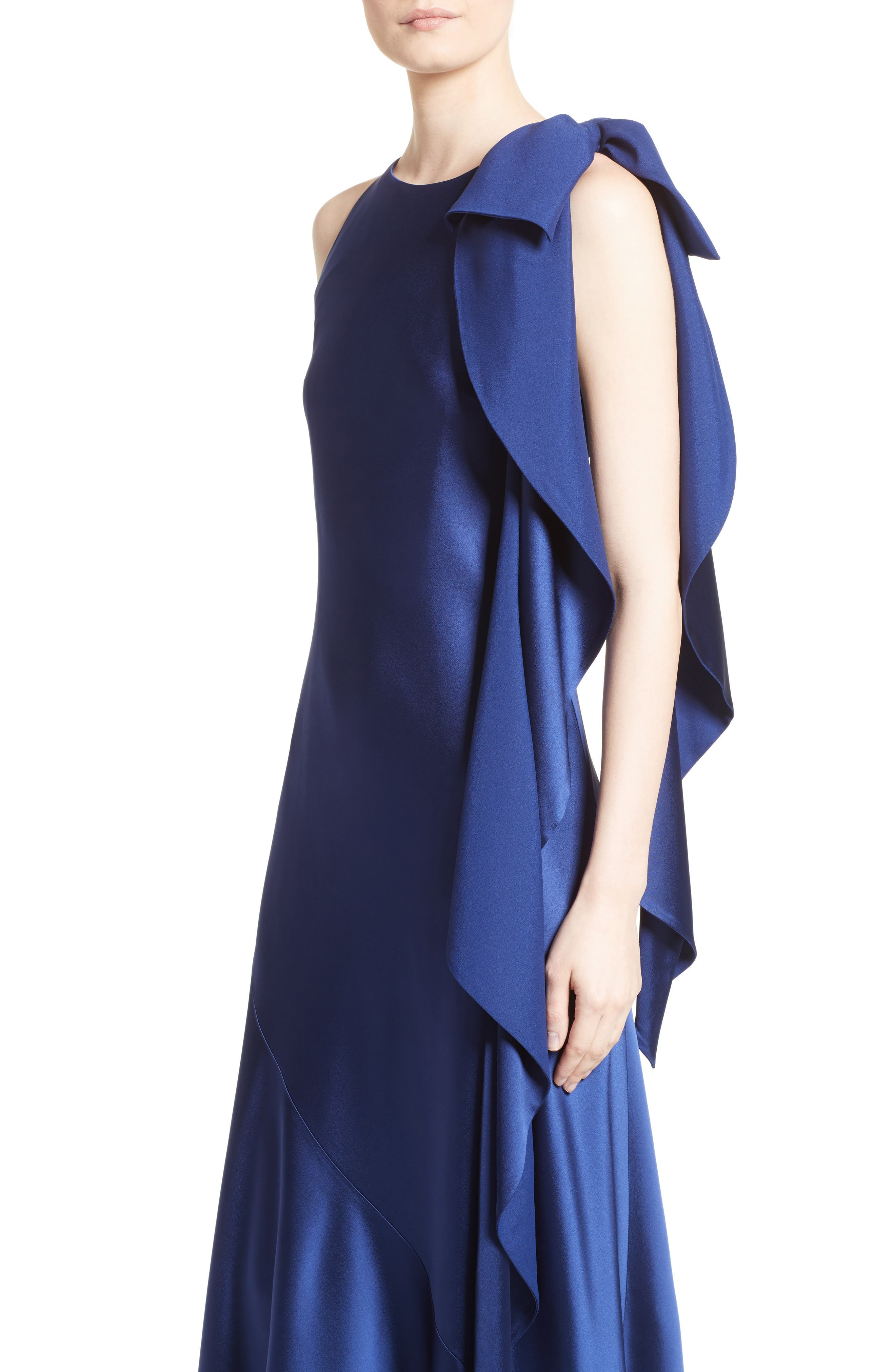 Bow Detail Crepe Satin Gown,                             Alternate thumbnail 4, color,
