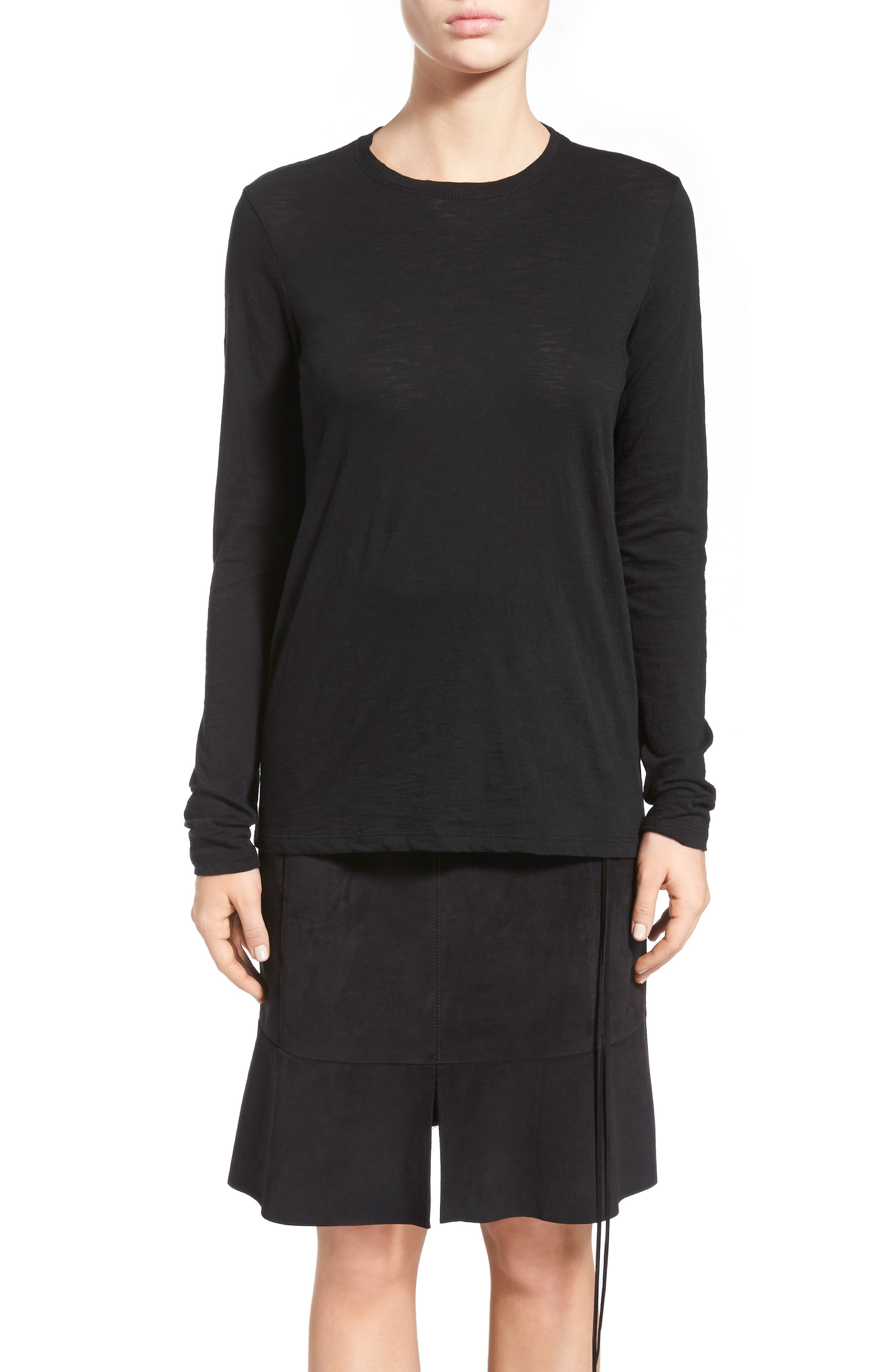 Tissue Jersey Long Sleeve Tee,                             Alternate thumbnail 4, color,                             001