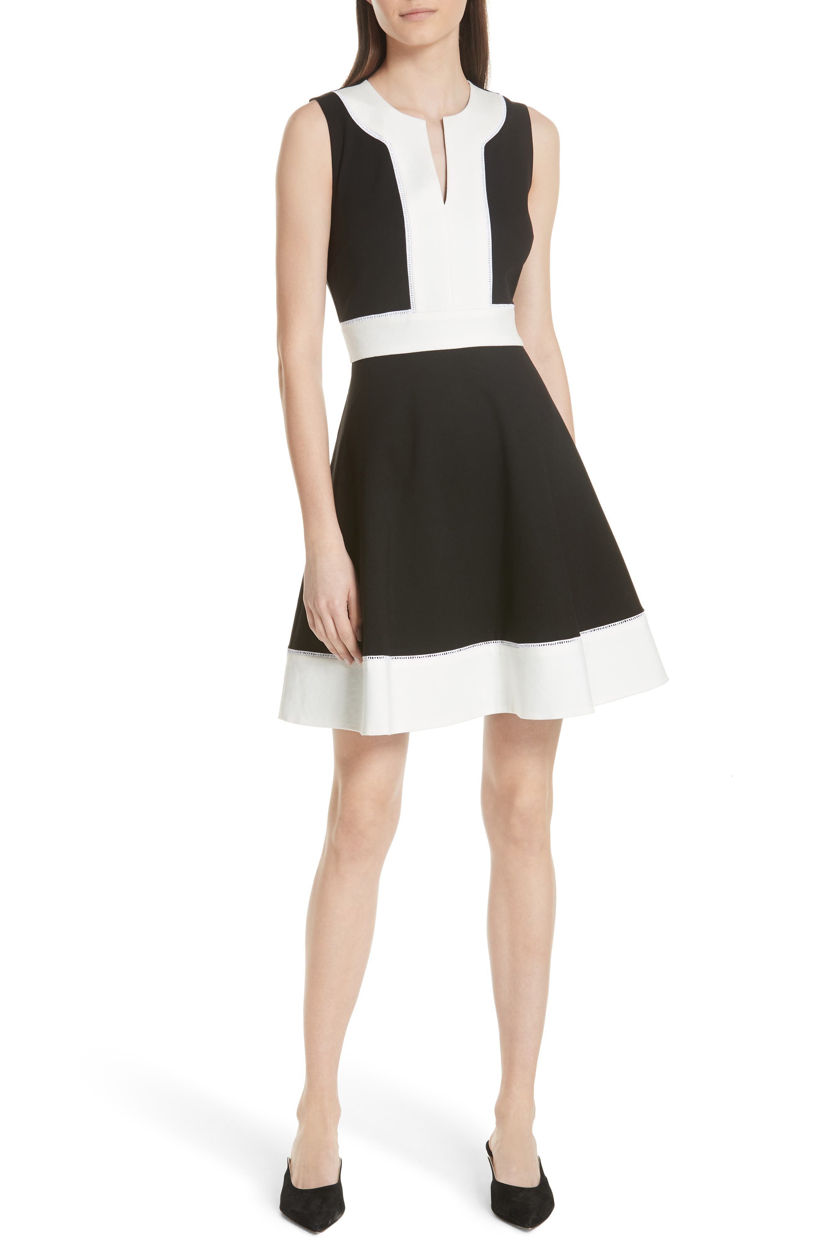 colorblock ponte a-line dress,                         Main,                         color, 001