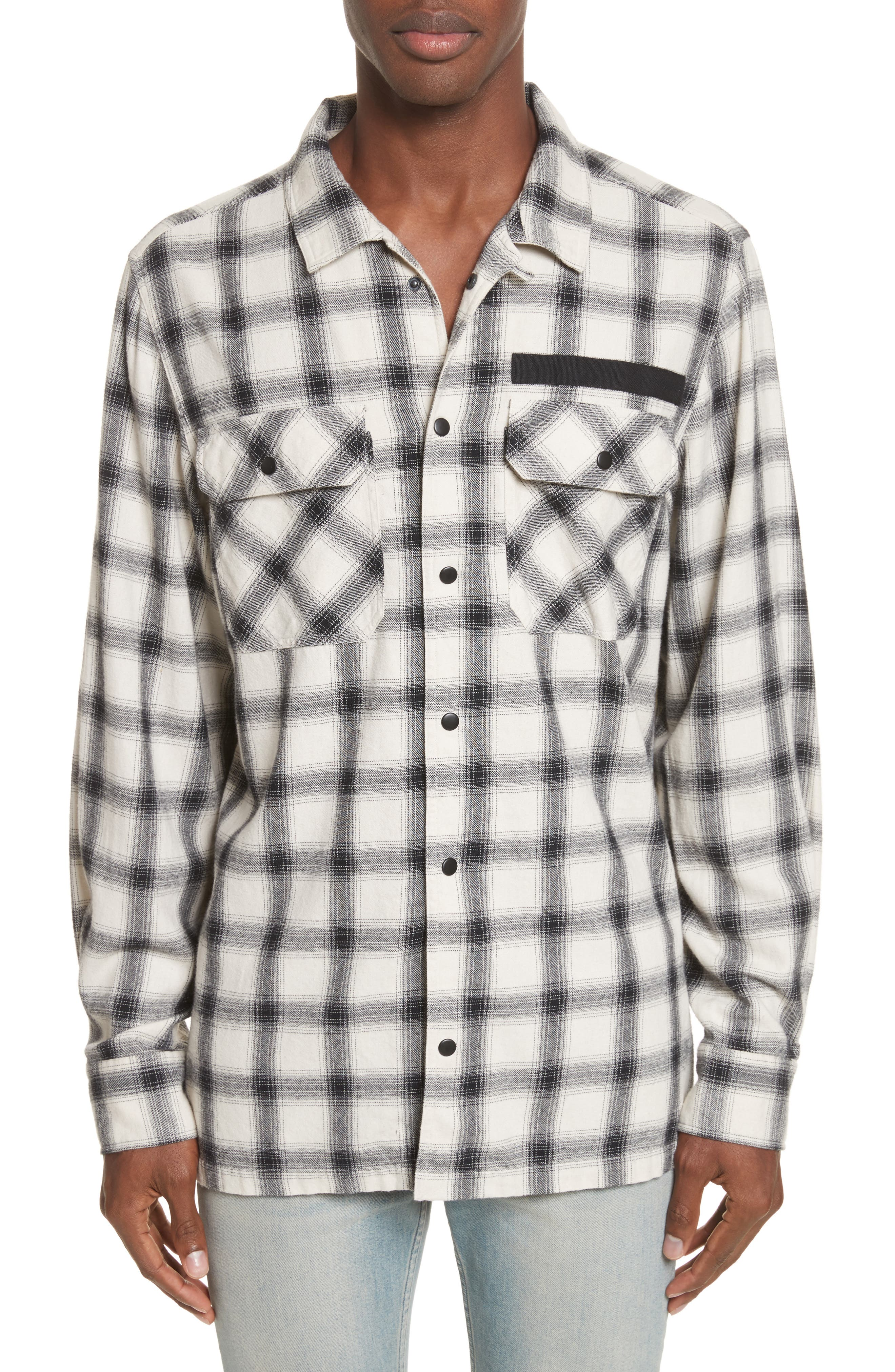 OVADIA & SONS Oversize Plaid Military Shirt, Main, color, WHITE/ BLACK