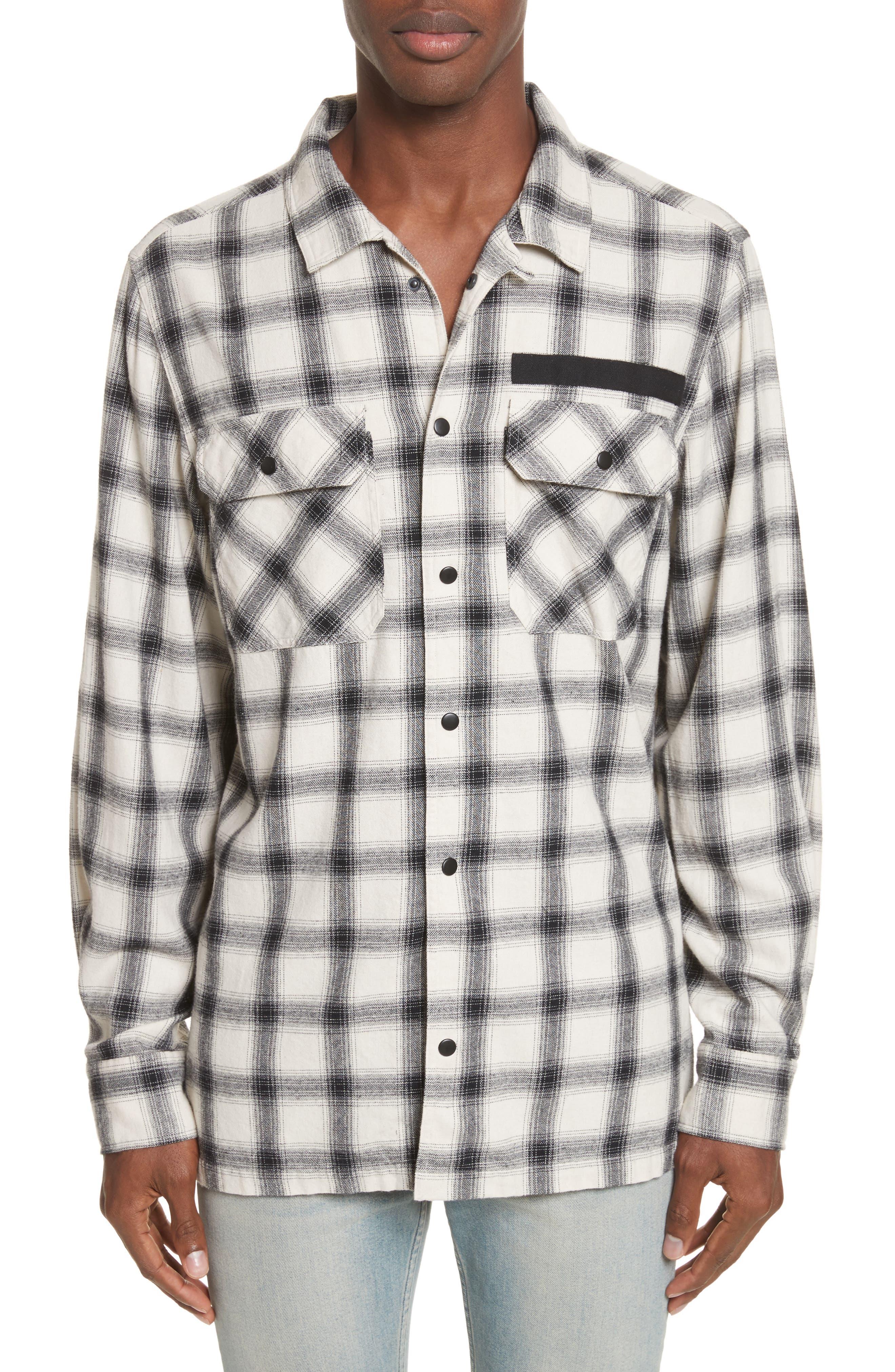 Oversize Plaid Military Shirt,                         Main,                         color, 199