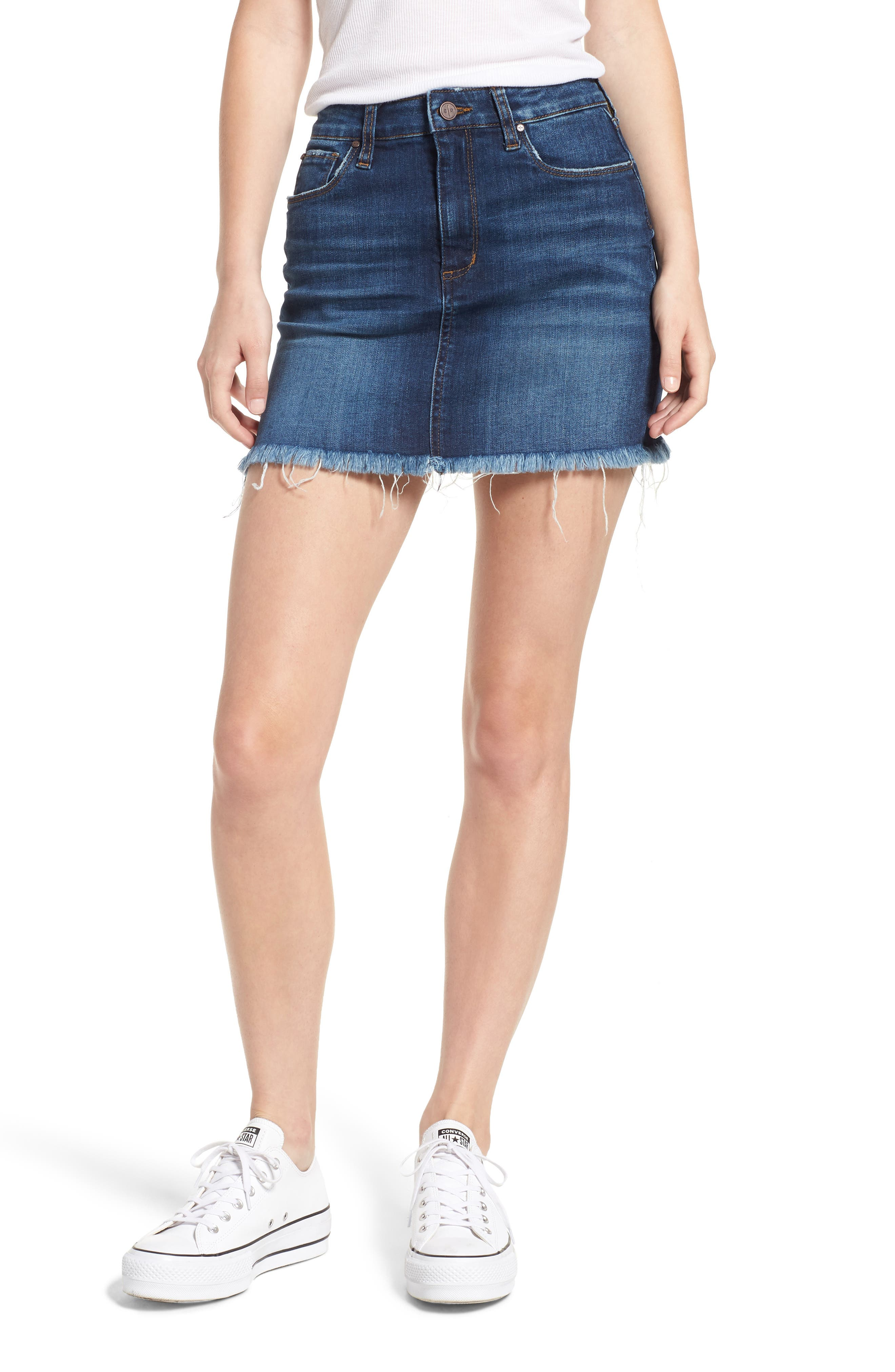 Raw Hem Denim Miniskirt,                             Main thumbnail 1, color,                             MEDIUM WASH
