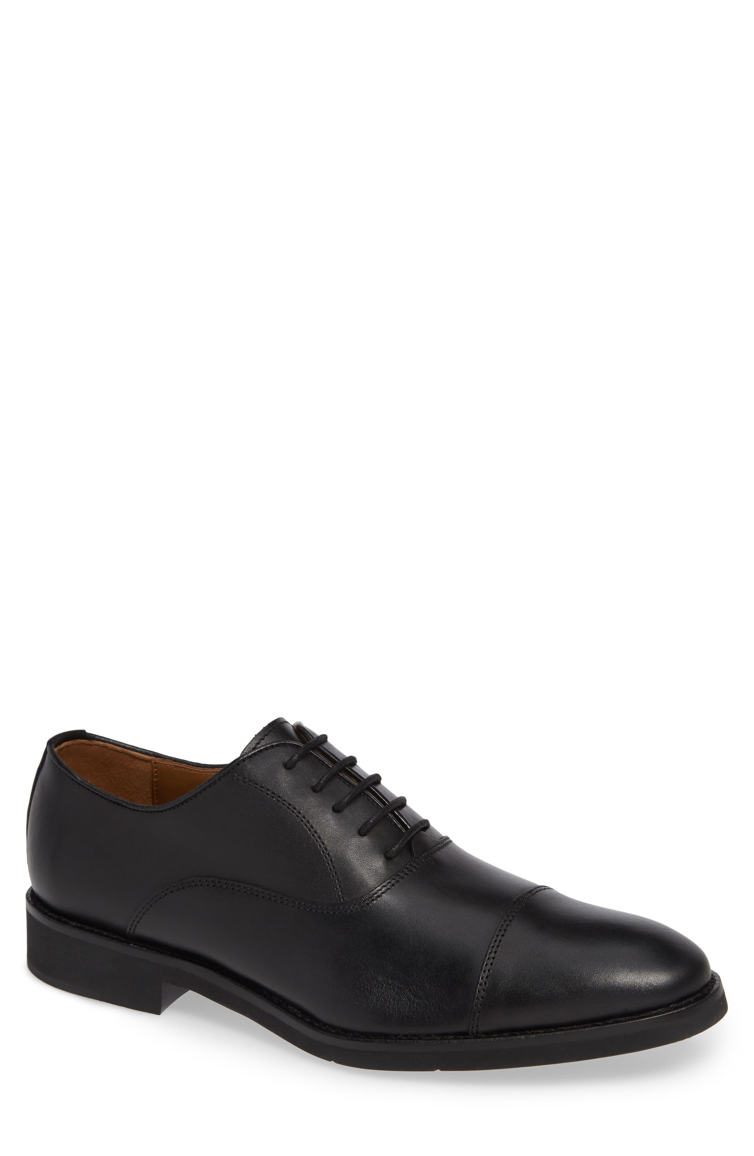 Carlson Cap Toe Oxford,                         Main,                         color, BLACK LEATHER
