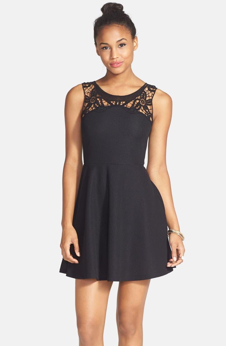 54428d4da2bd Lace Yoke Textured Skater Dress, Main, color, 001