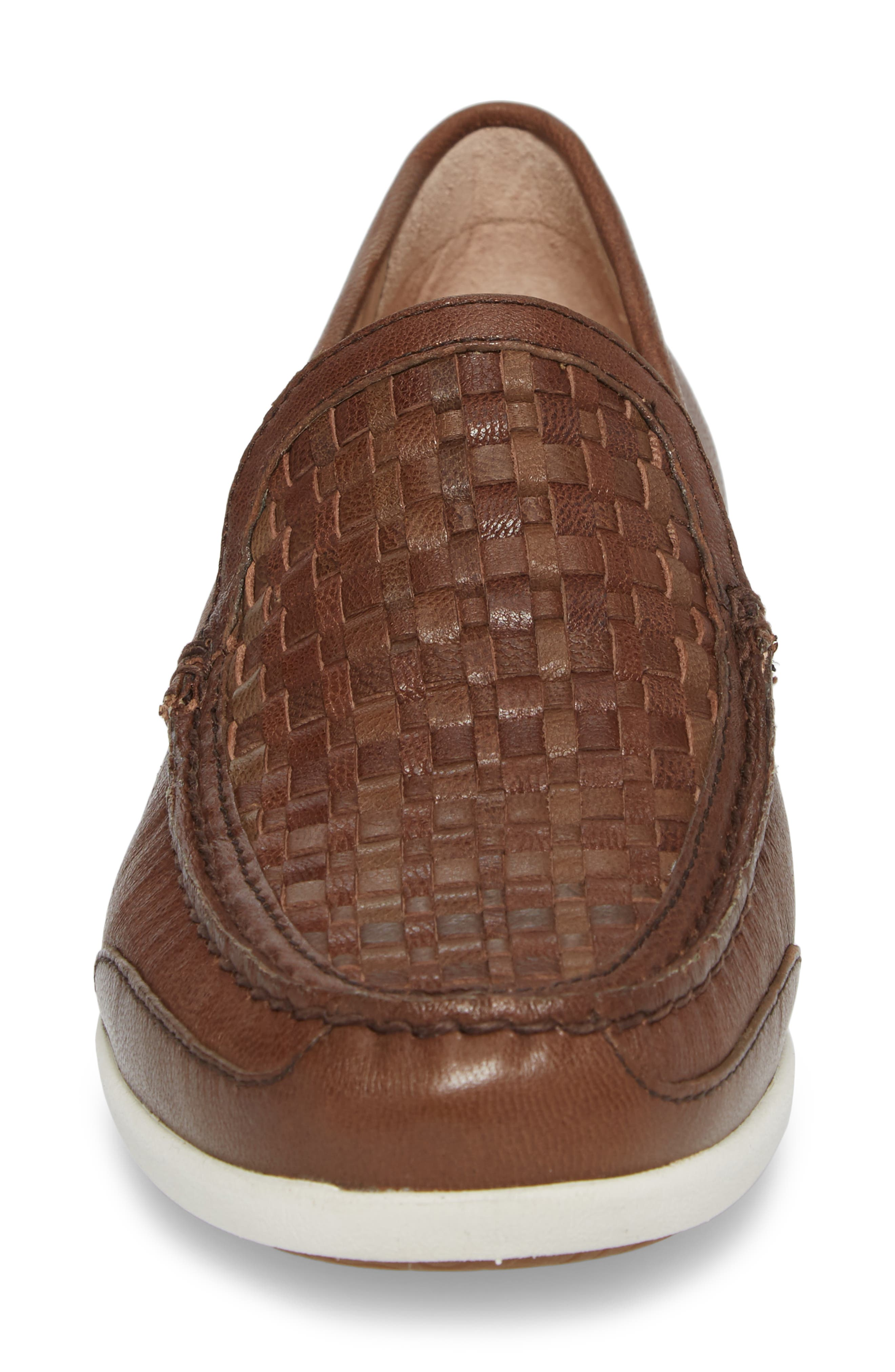 Taormina Woven Loafer,                             Alternate thumbnail 4, color,                             DARK BROWN LEATHER