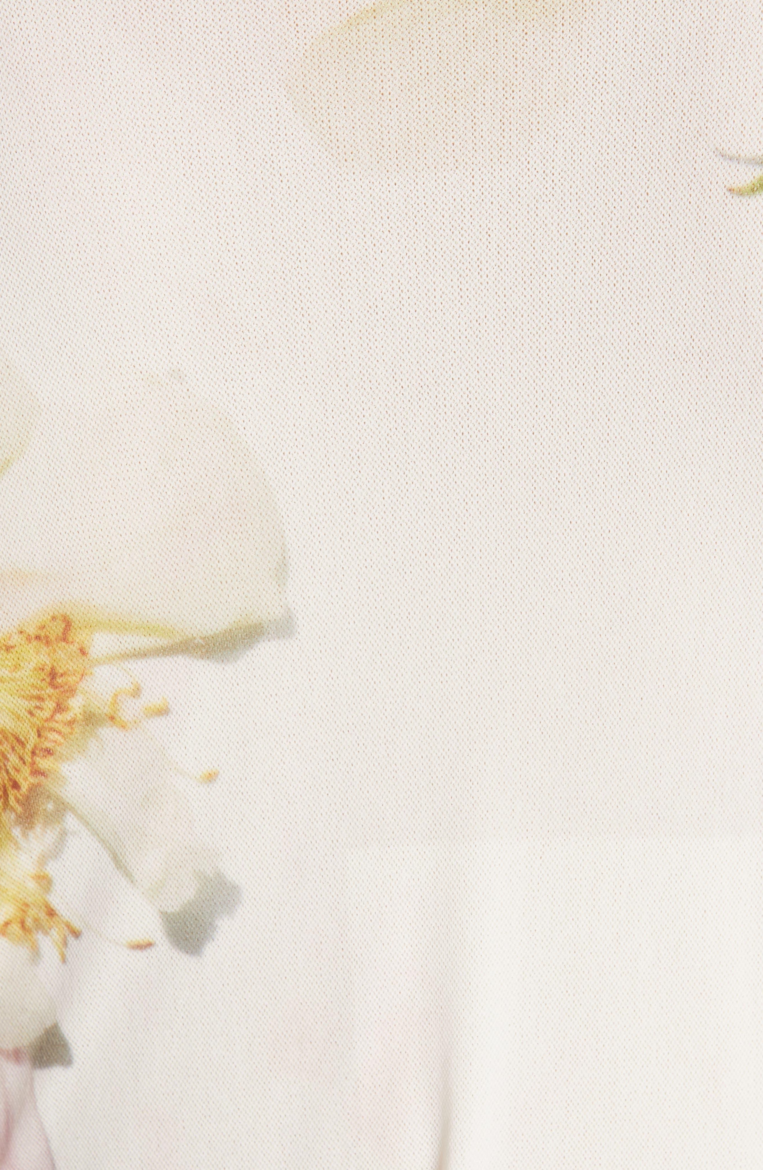 GANNI,                             Floral Print Mesh Dress,                             Alternate thumbnail 6, color,                             BRIGHT WHITE