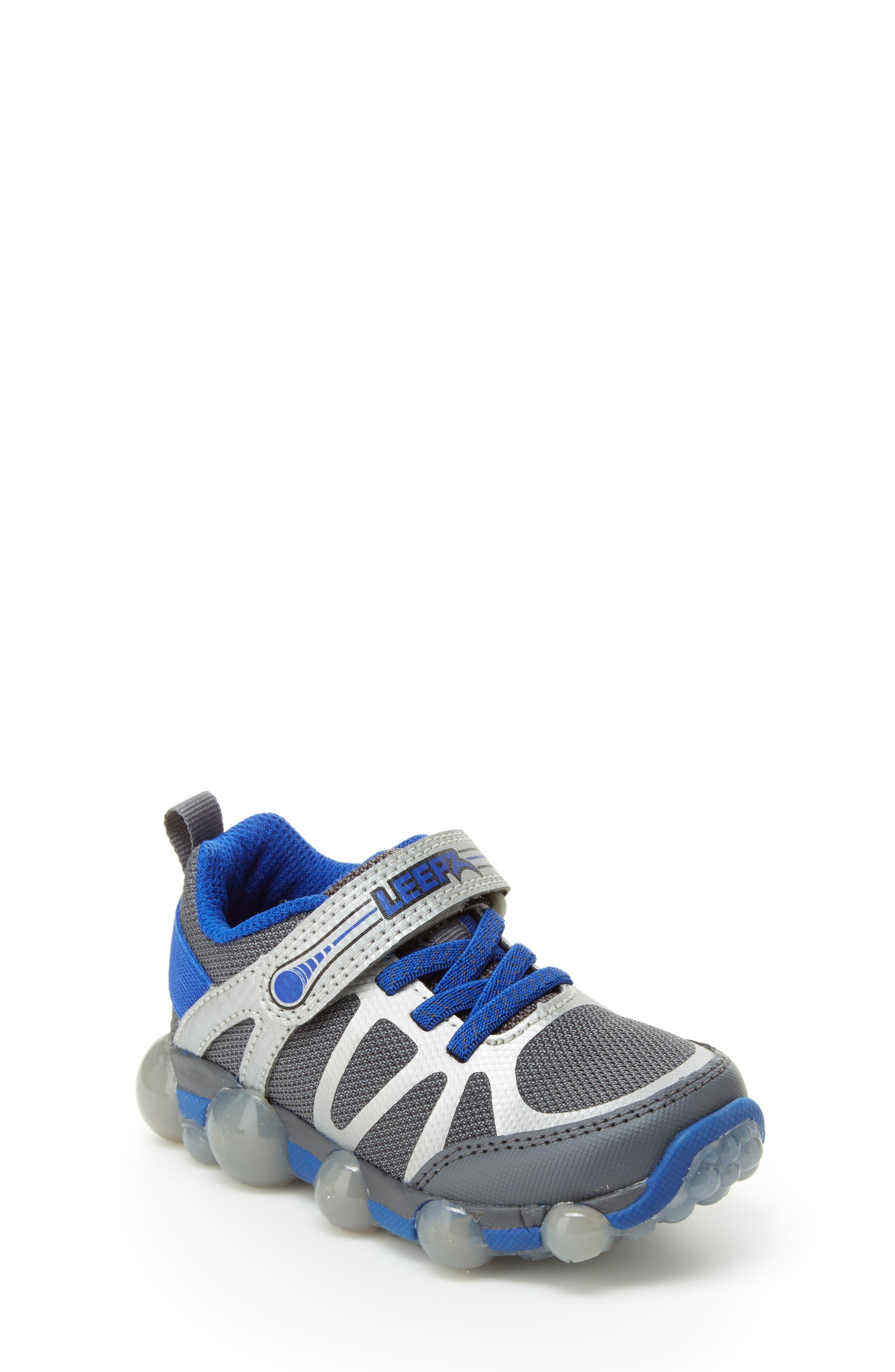 Leepz 3.0 Light-Up Sneaker,                         Main,                         color, DARK GREY/ BLUE