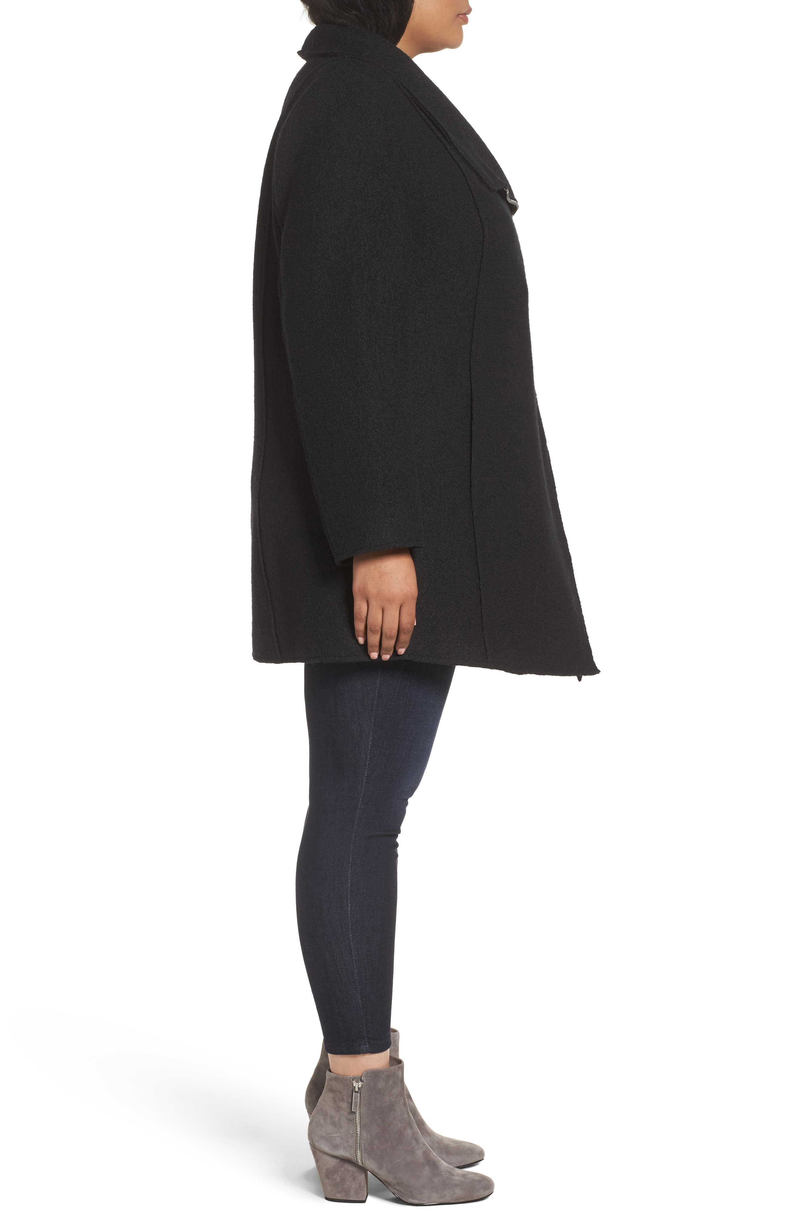 Asymmetrical Zip Boiled Wool Blend Coat,                             Alternate thumbnail 3, color,                             001