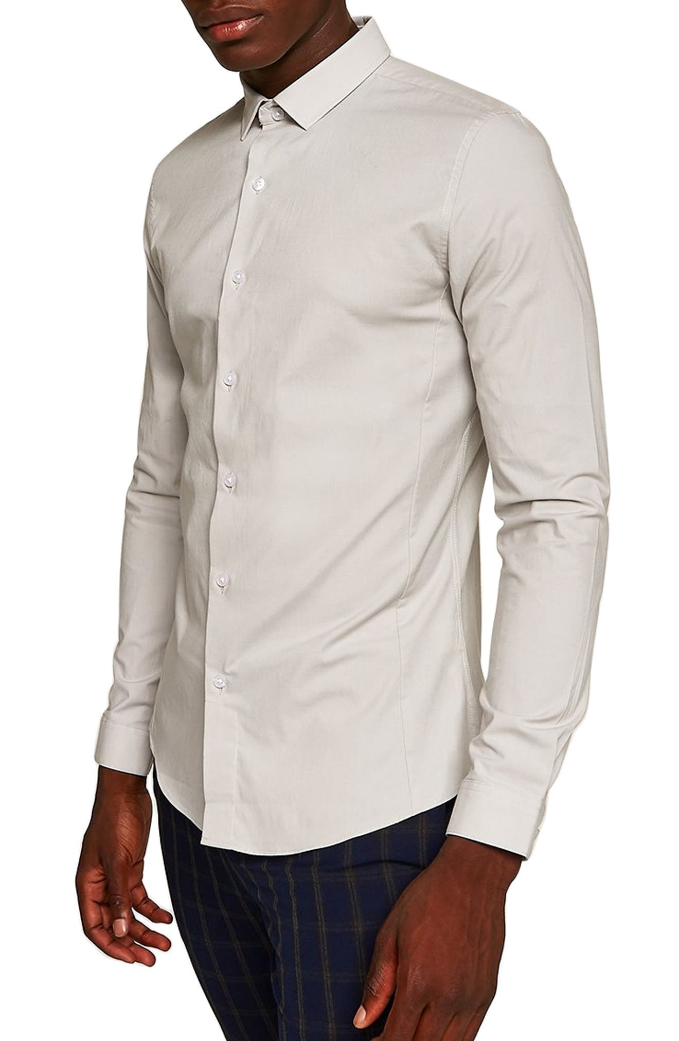 Muscle Fit Textured Shirt,                         Main,                         color, GREY