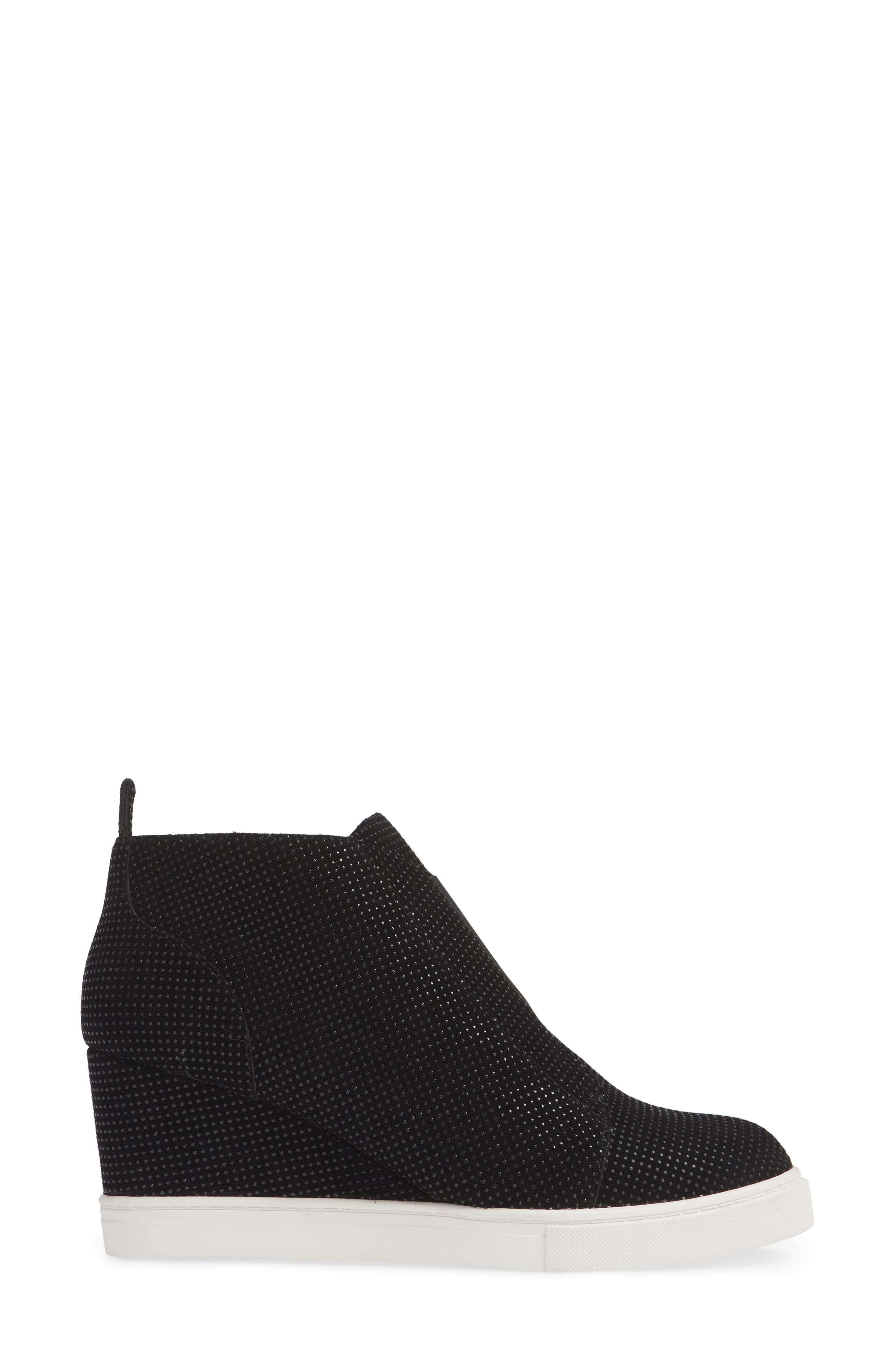 'Felicia' Wedge Bootie,                             Alternate thumbnail 3, color,                             BLACK TEXTURED SUEDE