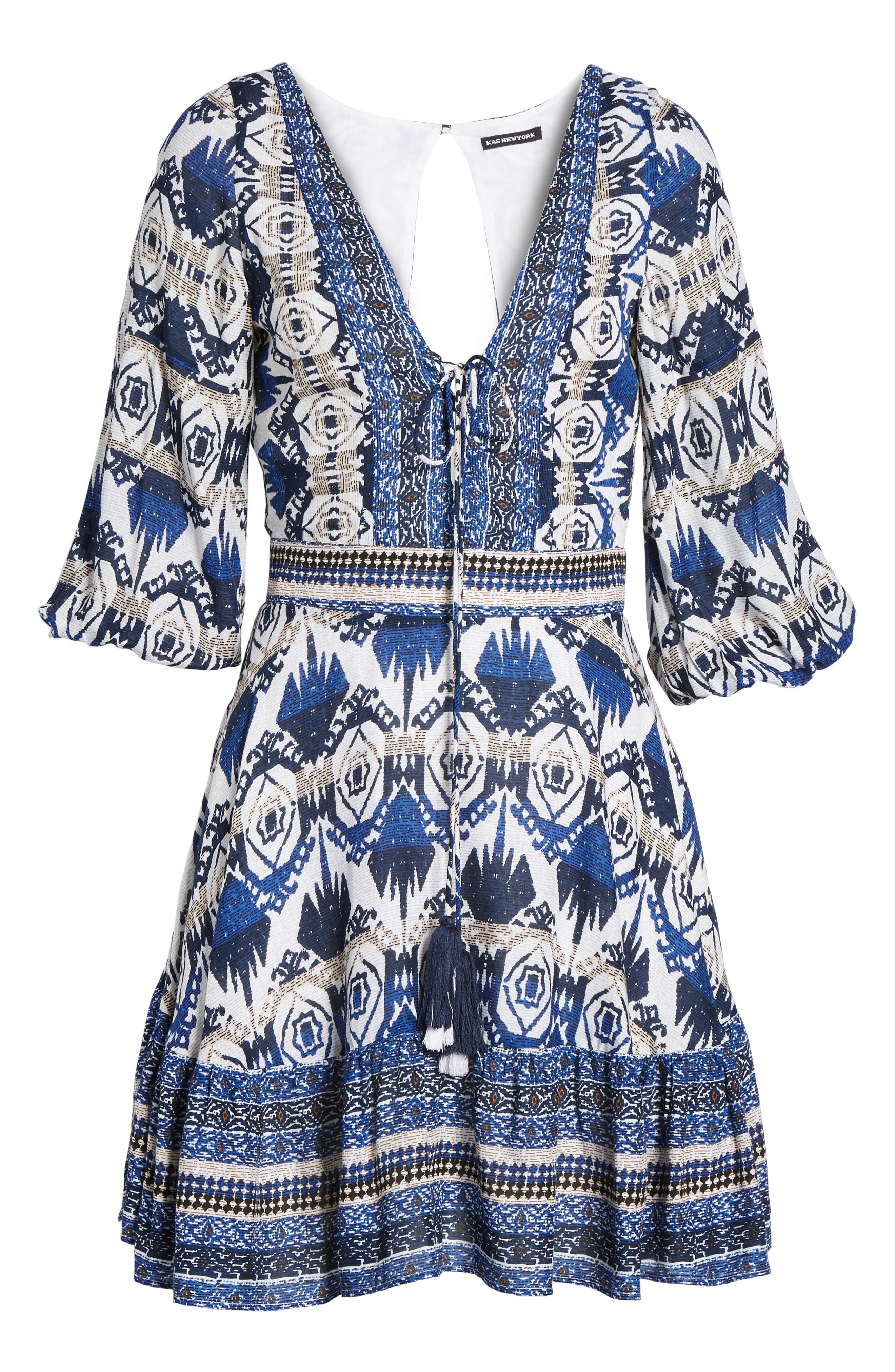 Camille Mixed Print Fit & Flare Dress,                             Alternate thumbnail 6, color,                             400