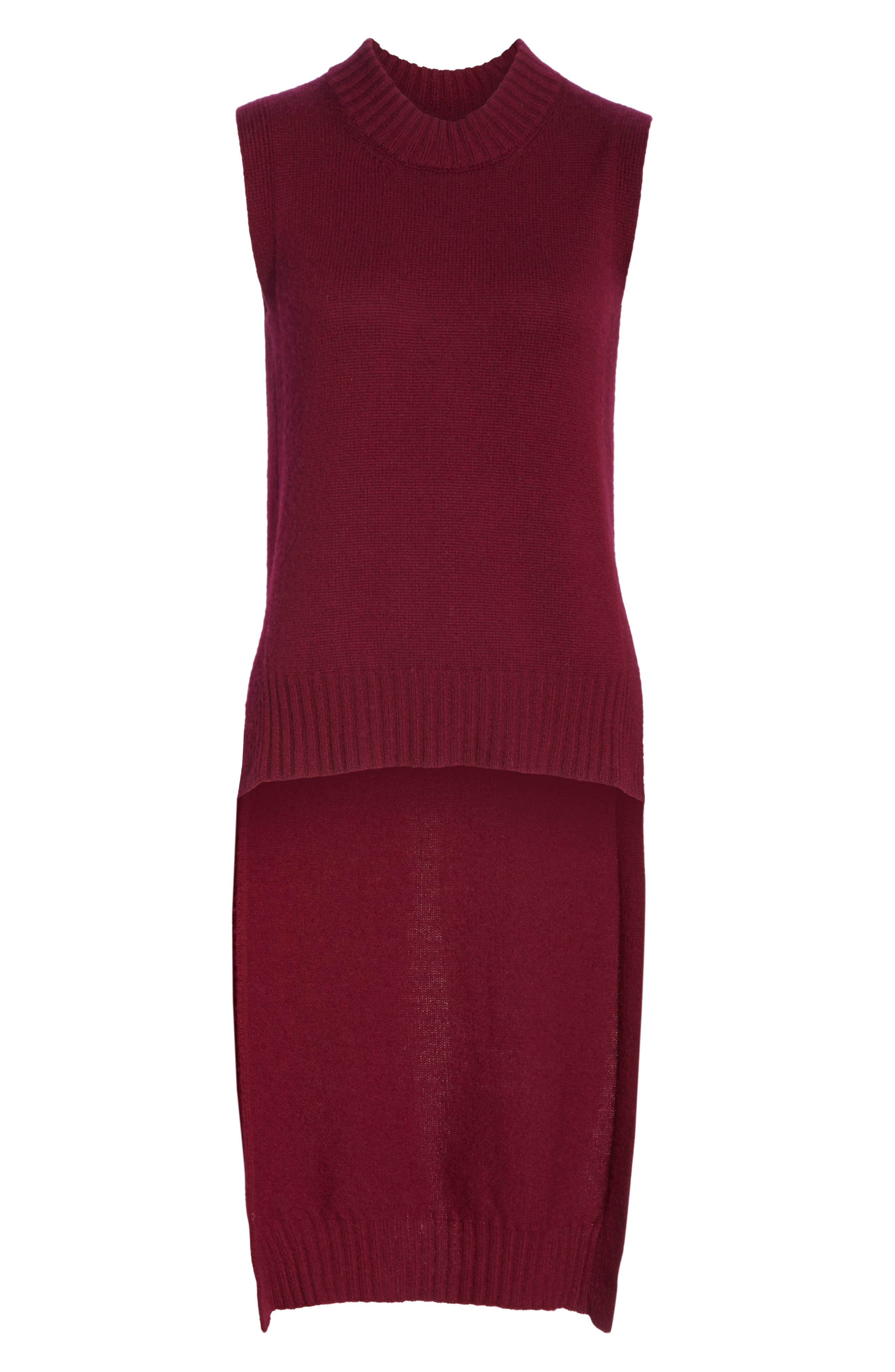 High/Low Wool & Cashmere Sweater,                             Alternate thumbnail 6, color,                             MAROON