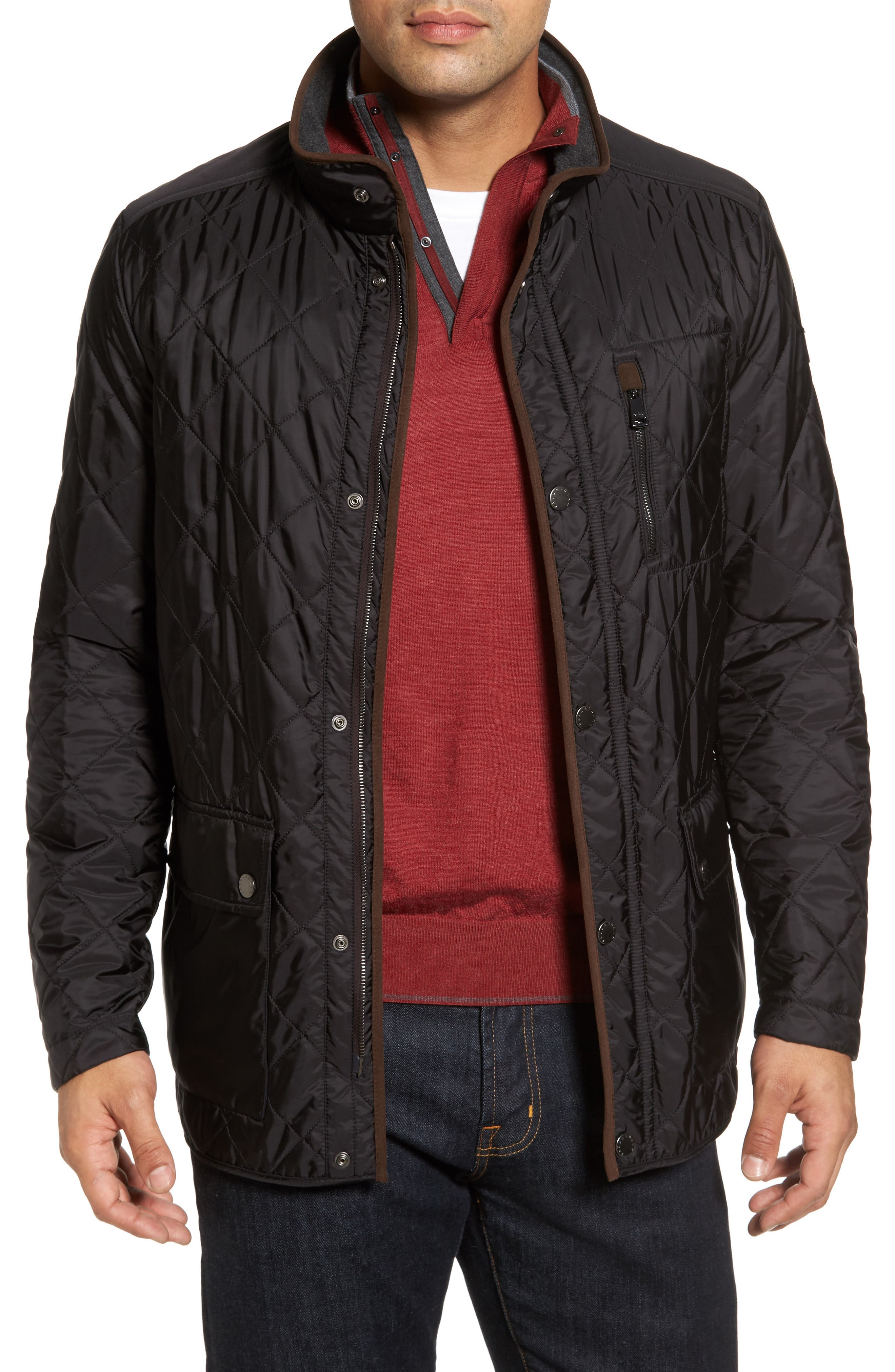 Paul&Shark Fleece Lined Quilted Jacket,                             Main thumbnail 1, color,                             001