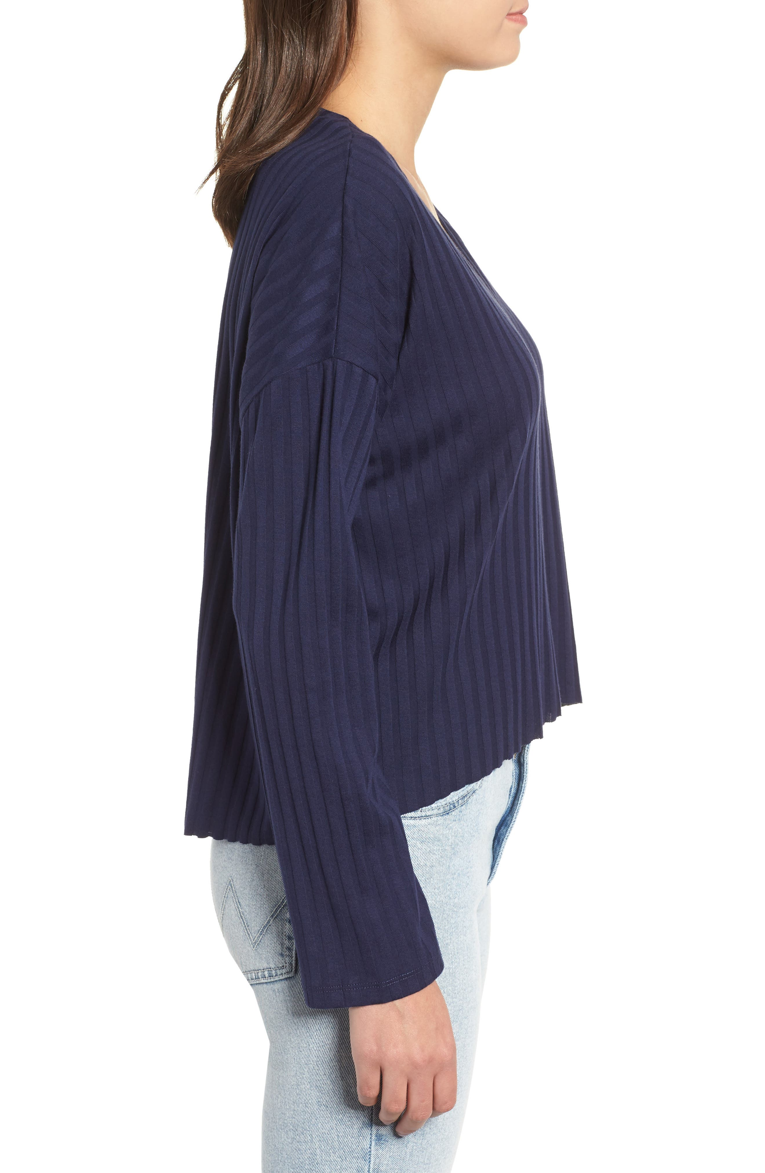 Wide Rib Crop Sweater,                             Alternate thumbnail 3, color,                             NAVY MARITIME