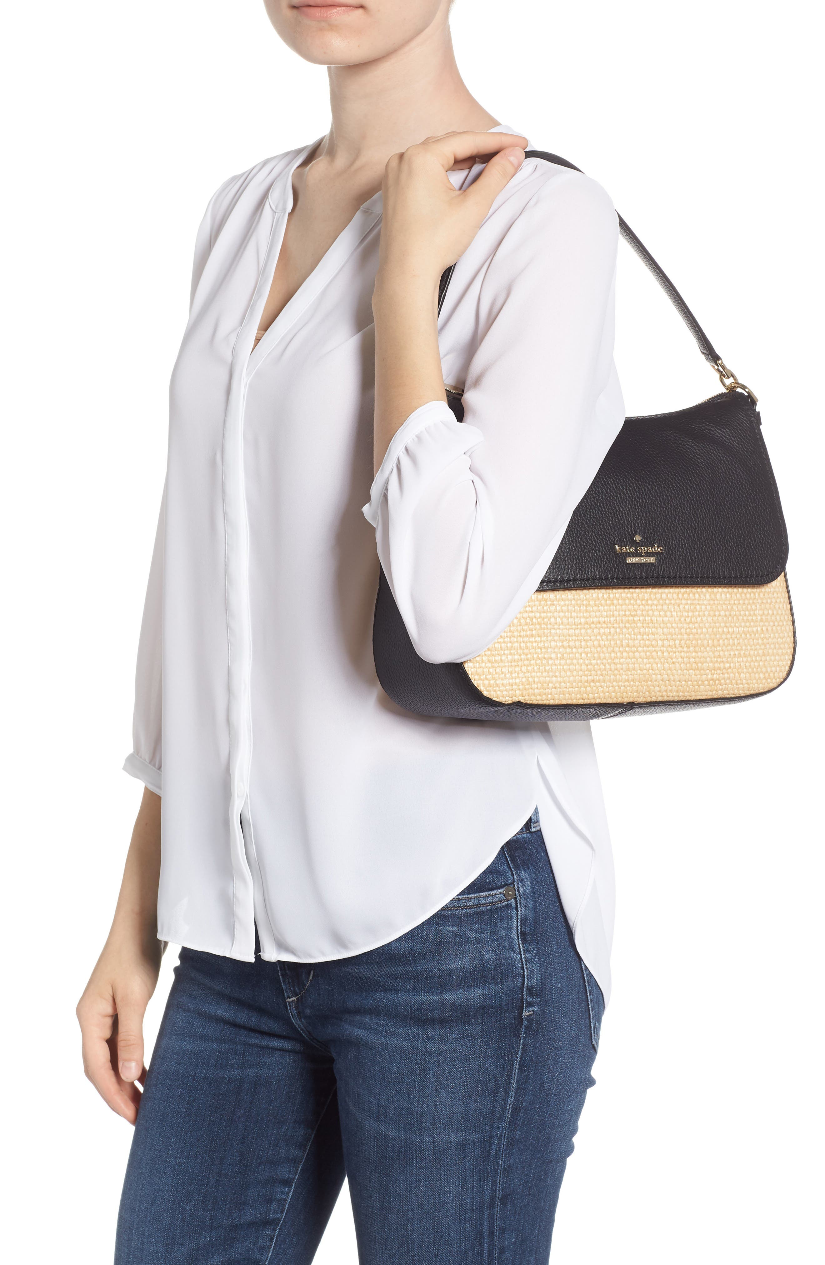 KATE SPADE NEW YORK,                             jackson street - colette straw & leather satchel,                             Alternate thumbnail 2, color,                             257