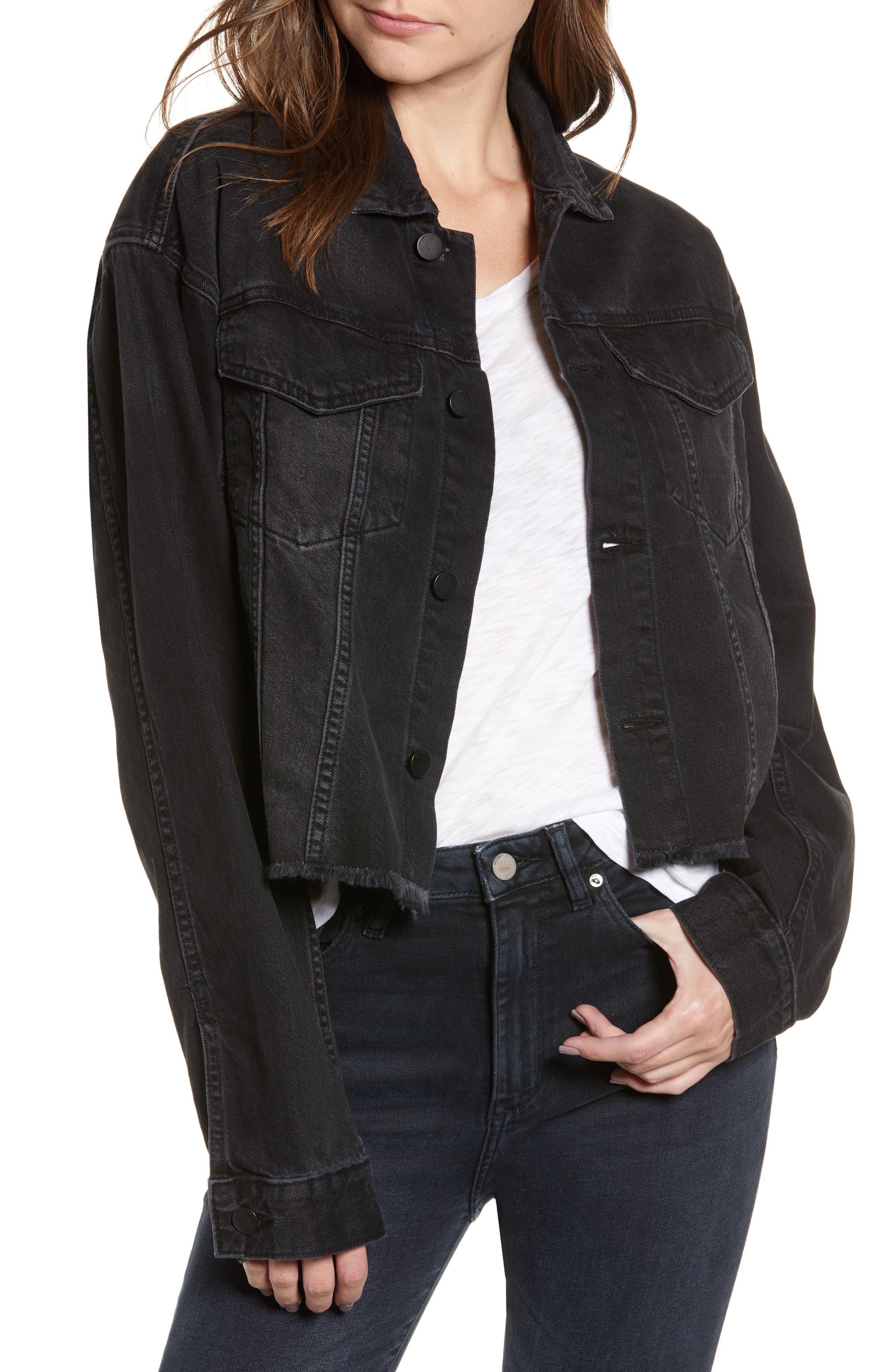 Annie Crop Denim Jacket,                         Main,                         color, BLACKBURN