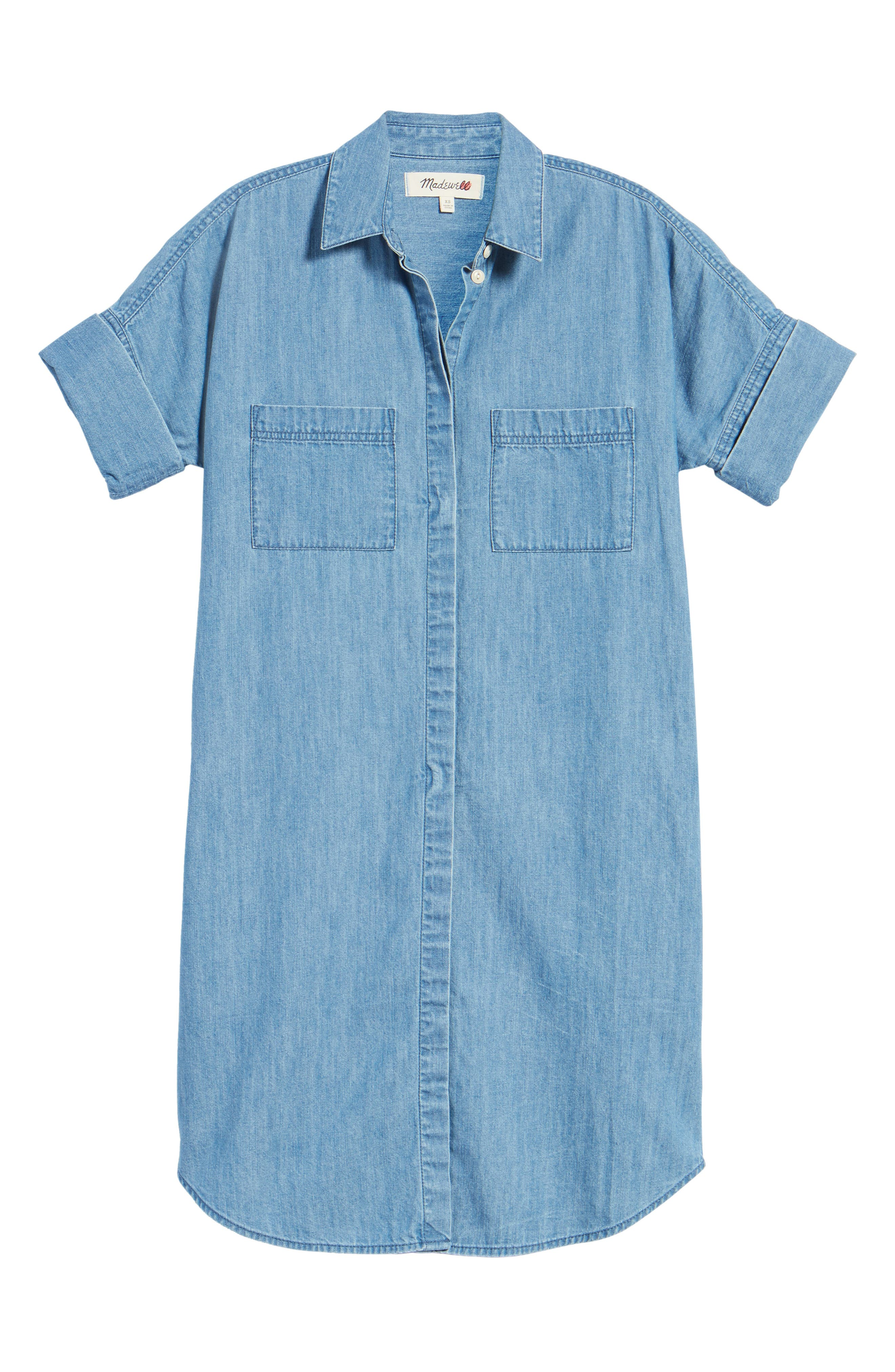 Courier Denim Shirtdress,                             Alternate thumbnail 6, color,                             409
