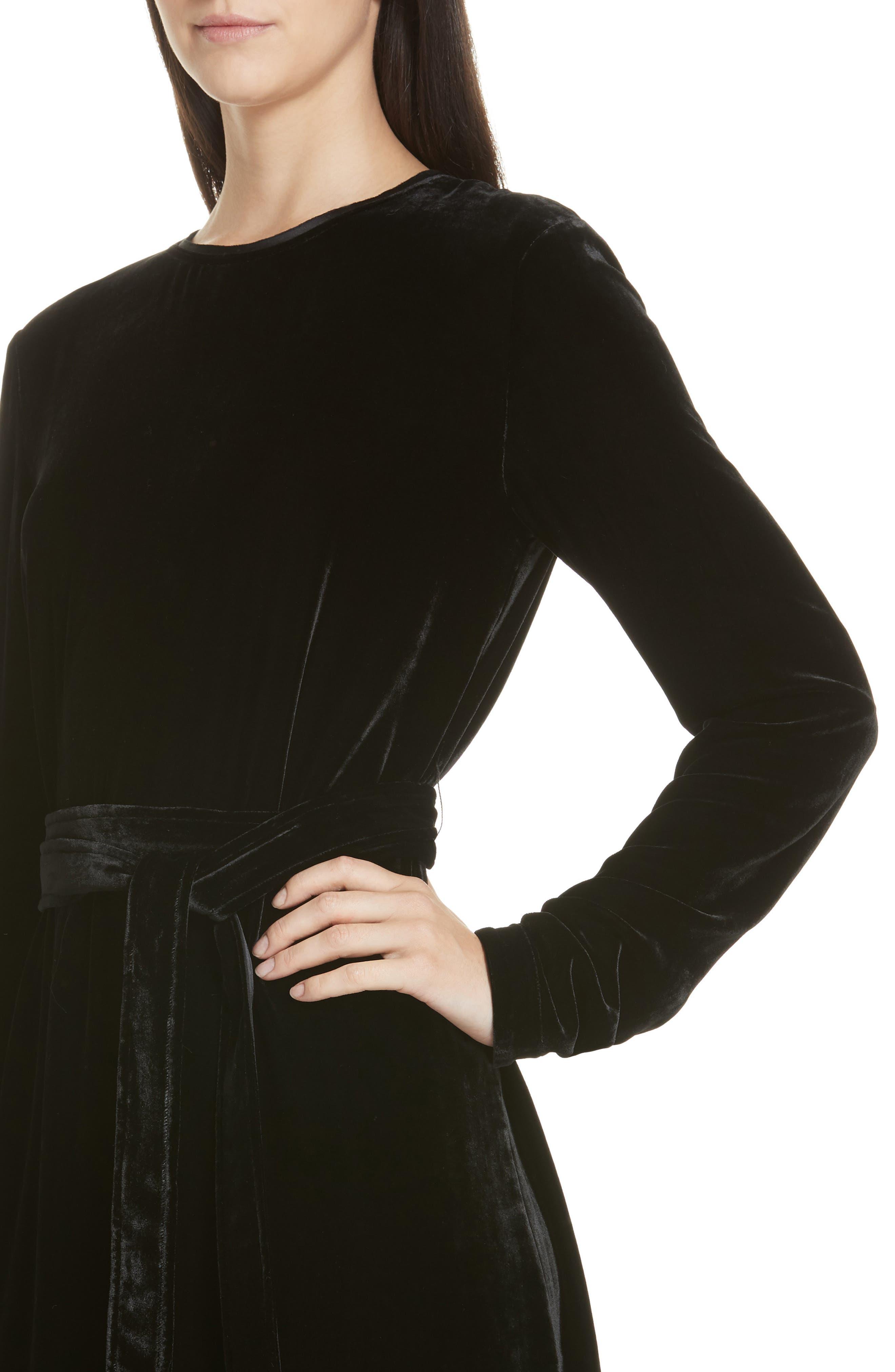 Belted Crinkled Velvet Dress,                             Alternate thumbnail 4, color,                             001