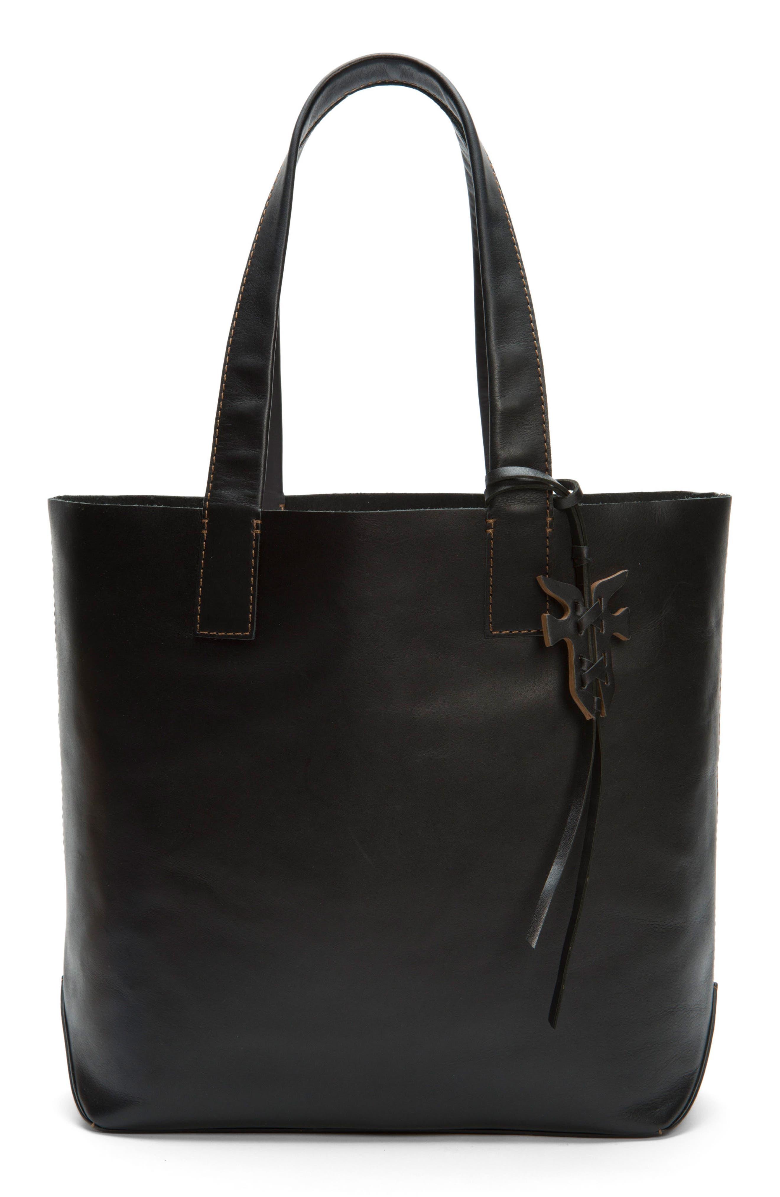 Carson Leather Tote,                         Main,                         color, BLACK