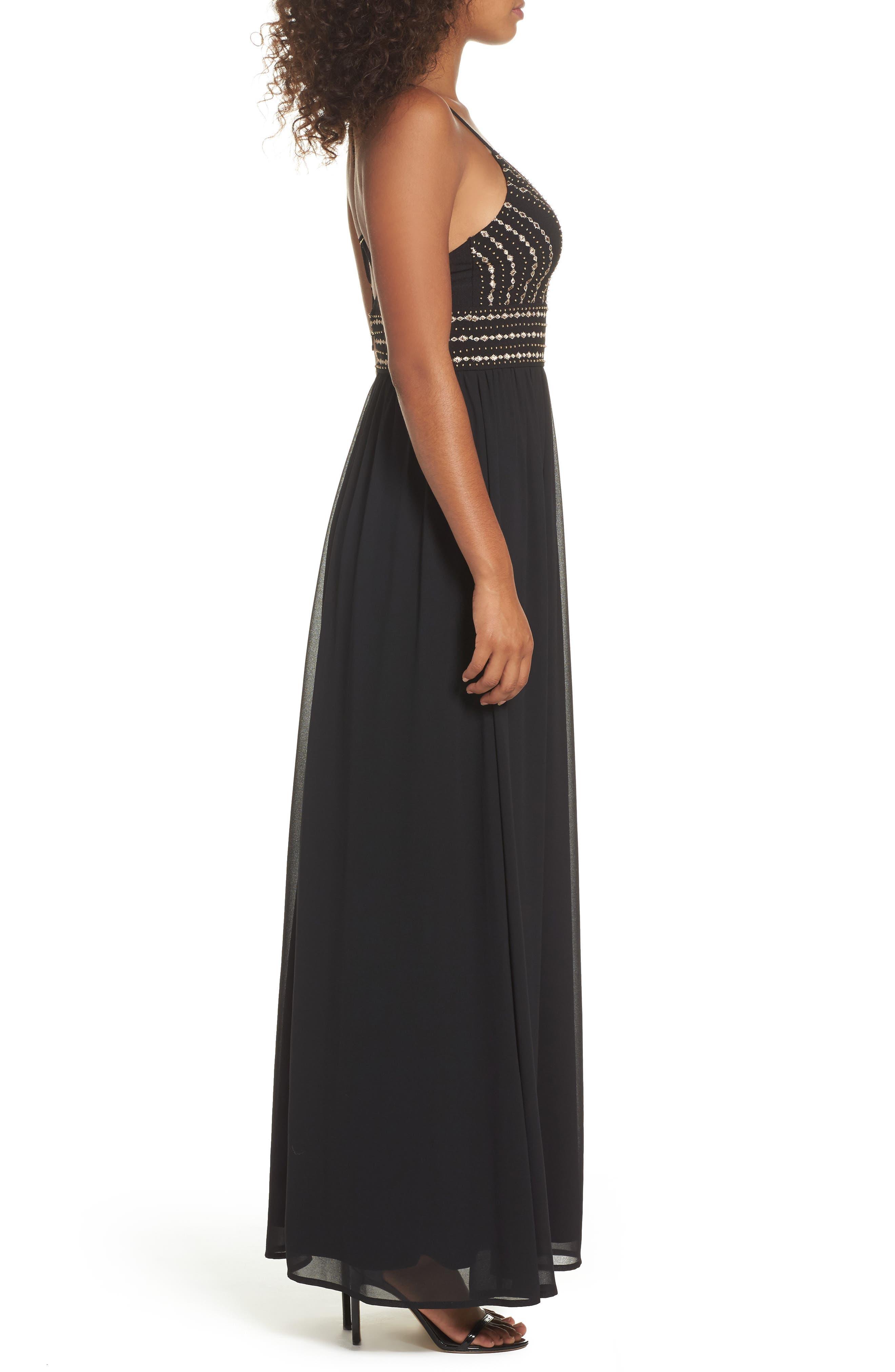 Glamorous Gala Embellished Maxi Dress,                             Alternate thumbnail 3, color,                             BLACK