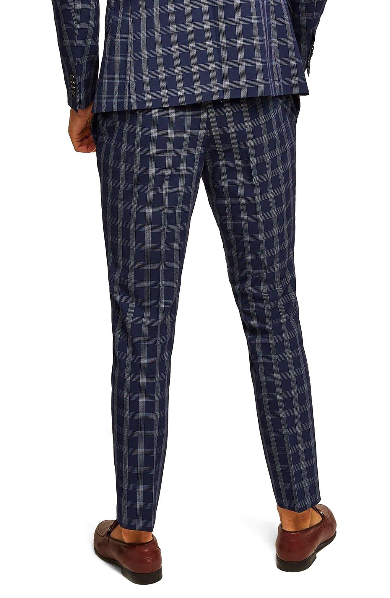 Muscle Fit Check Suit Trousers,                             Alternate thumbnail 2, color,                             NAVY BLUE MULTI