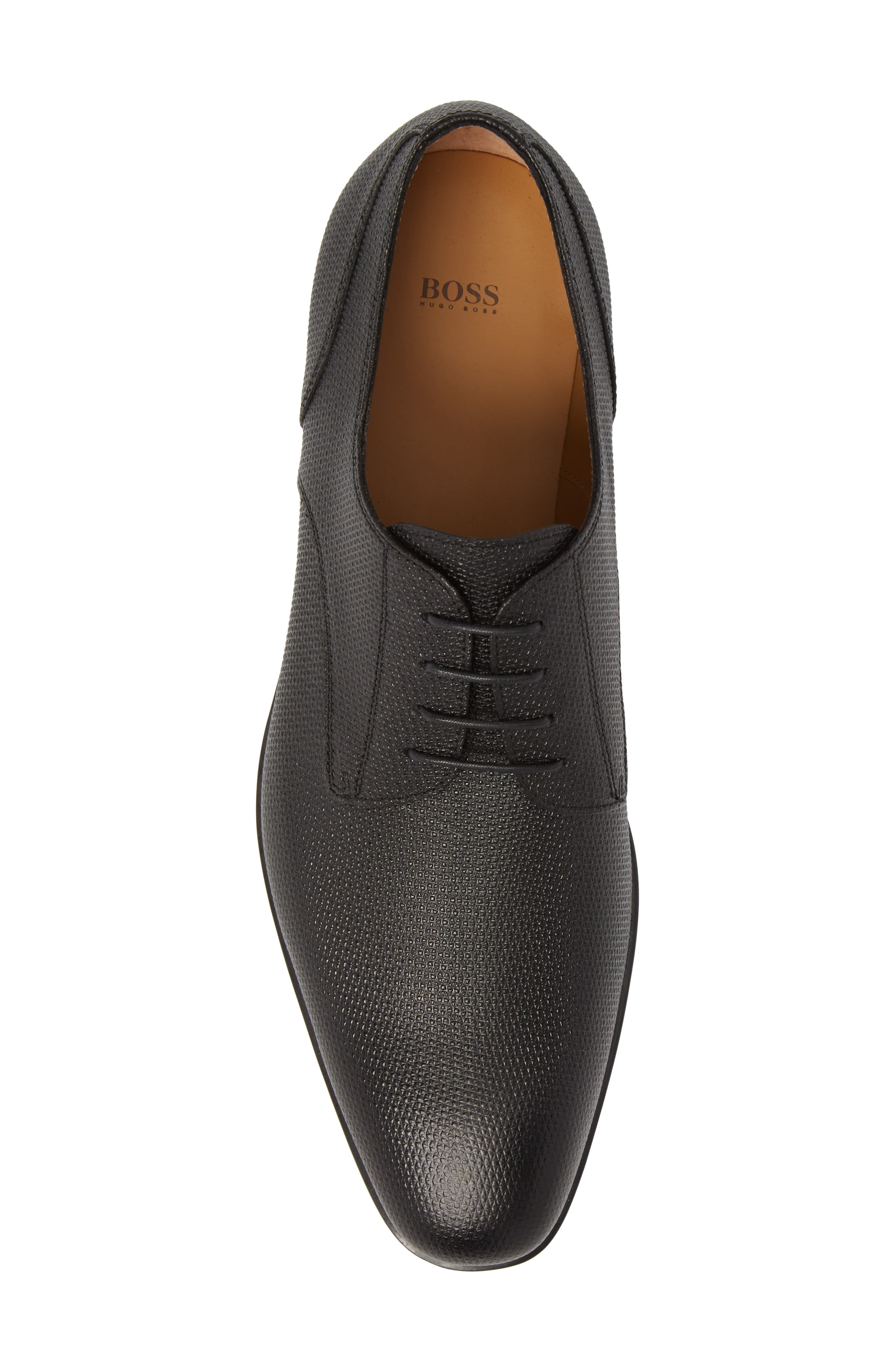 Hugo Boss Portland Embossed Plain Toe Derby,                             Alternate thumbnail 5, color,                             BLACK LEATHER